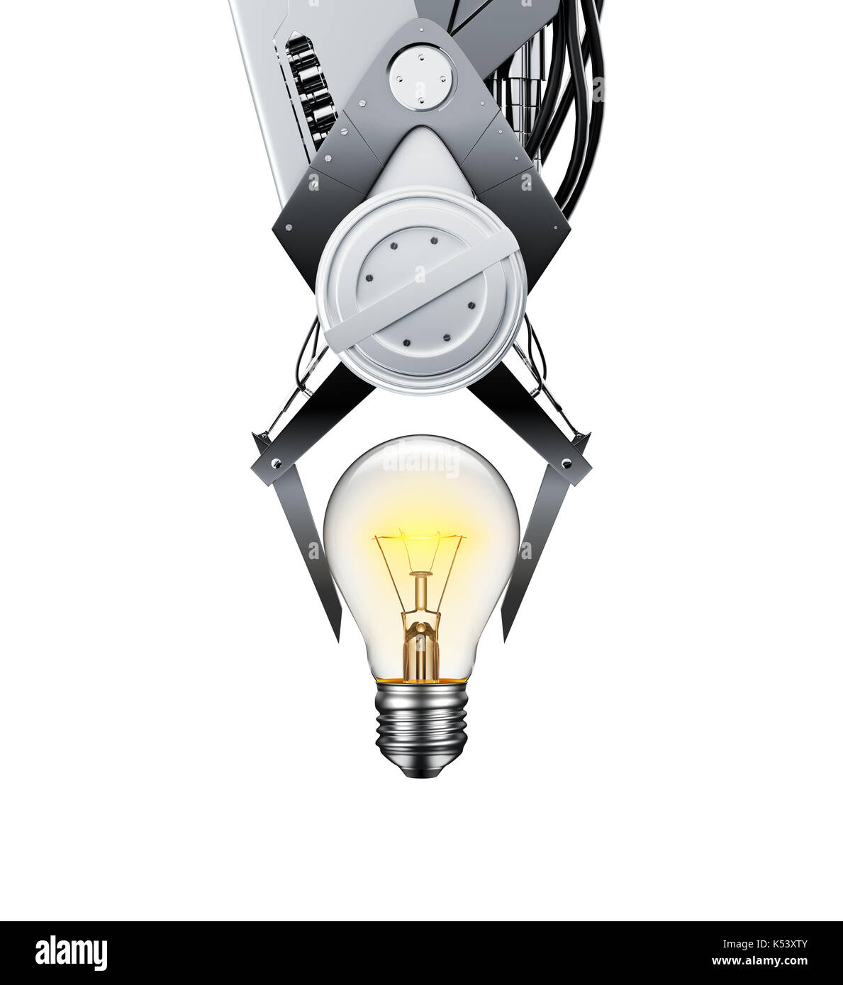 Claw Machine Lifting Glowing Light Bulb over white background - 3D Rendering - Stock Image