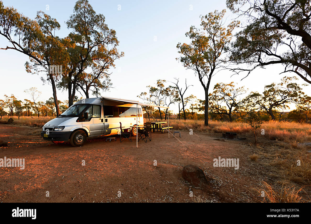 Ford Transit campervan bush camping in Porcupine Gorge National Park, Queensland, QLD, Australia - Stock Image