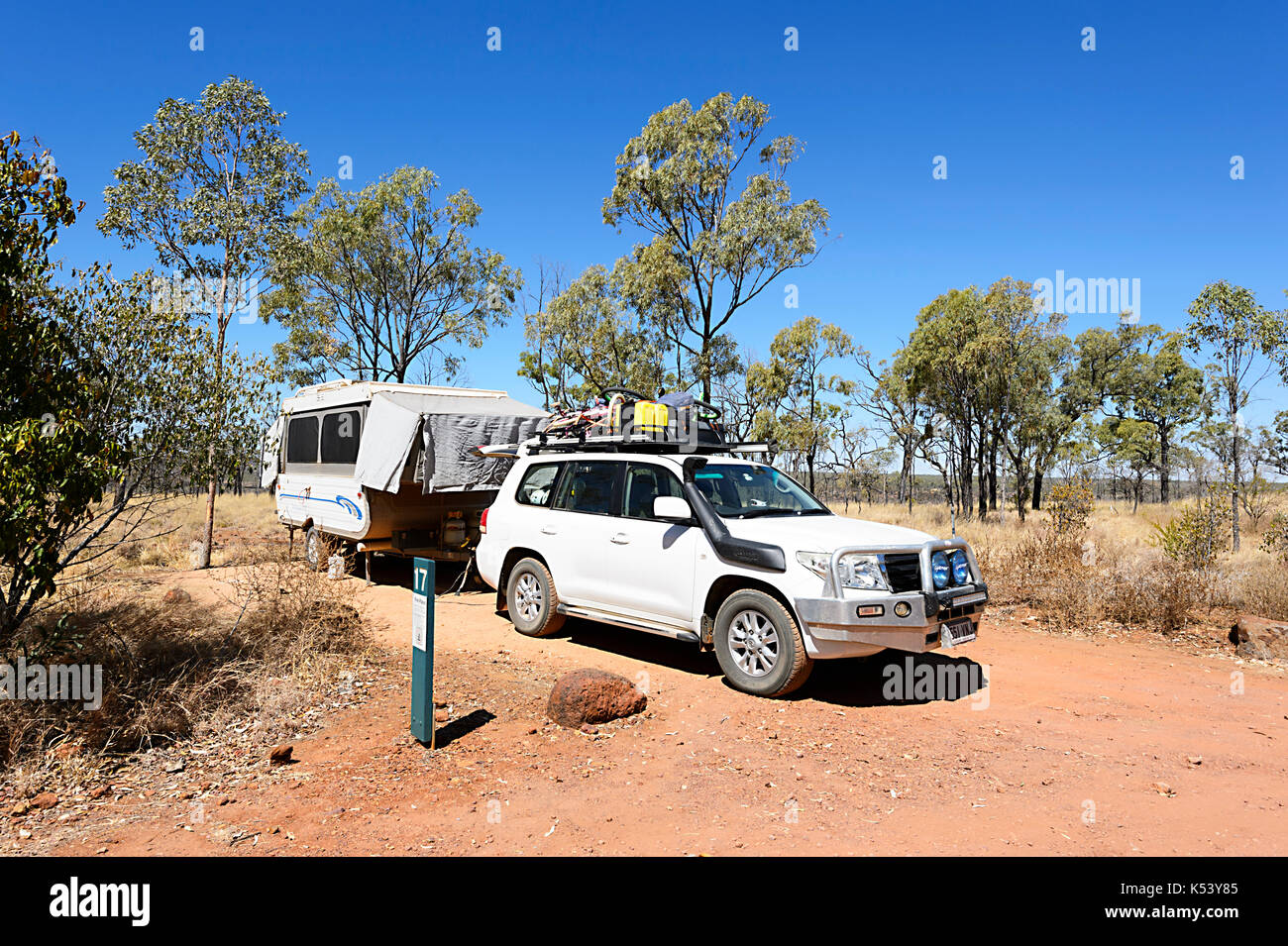 A 4x4 Car Towing An Off Road Camper Trailer Bush Camping In Porcupine Stock Photo Alamy