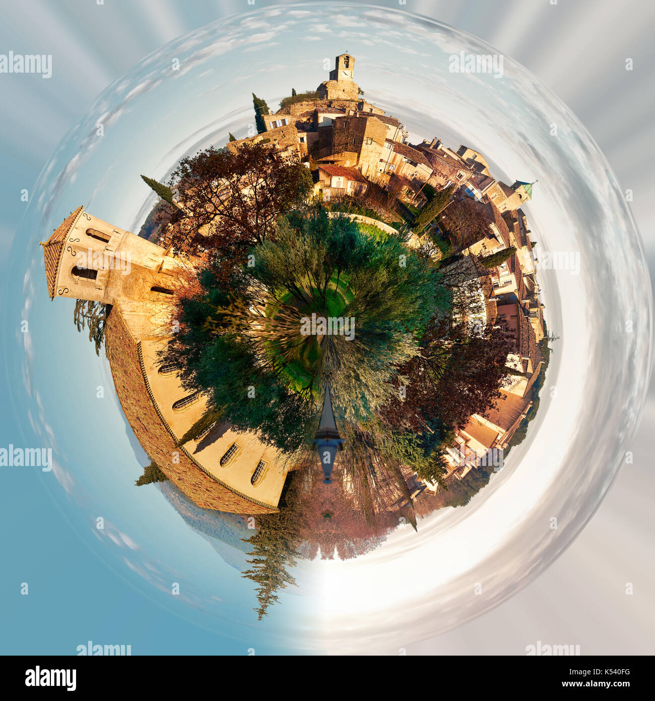 Little planet 360 degree sphere. Panorama of Lourmarin. Listed as the most beautiful villages of France. Provence-Alpes-Cote d'Azur. - Stock Image