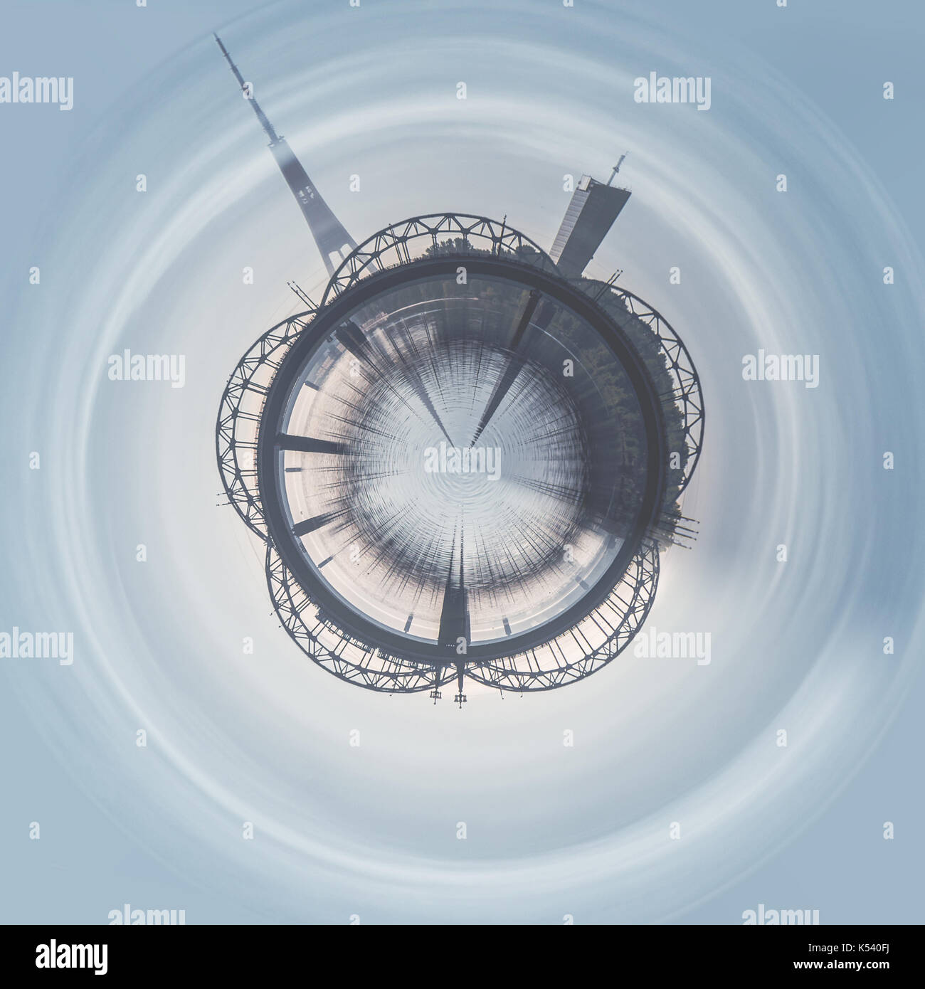 Little planet 360 degree sphere. Panoramic view of Railway bridge in the Riga city. Latvia - Stock Image