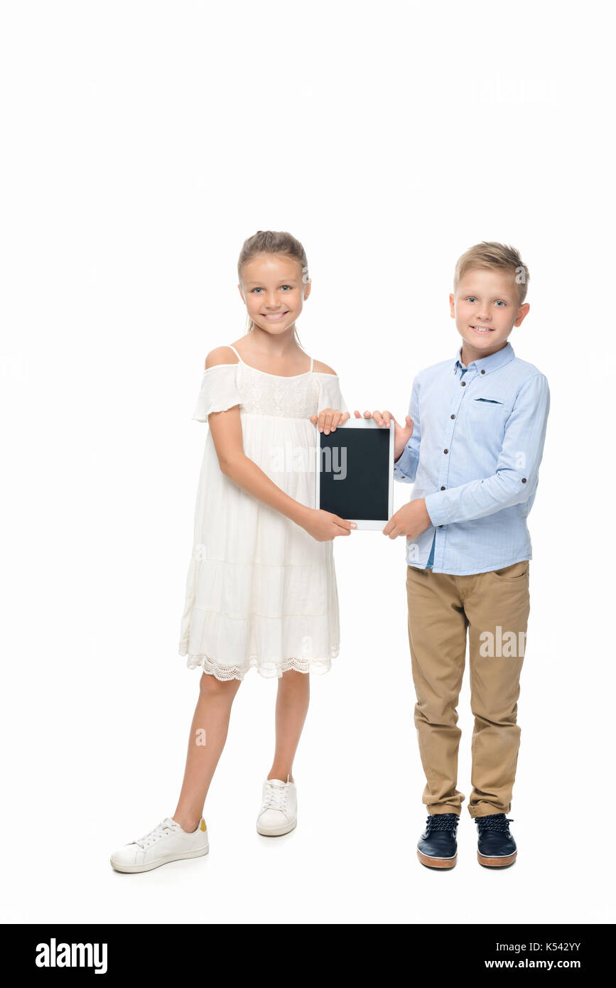 siblings with digital tablet  Stock Photo