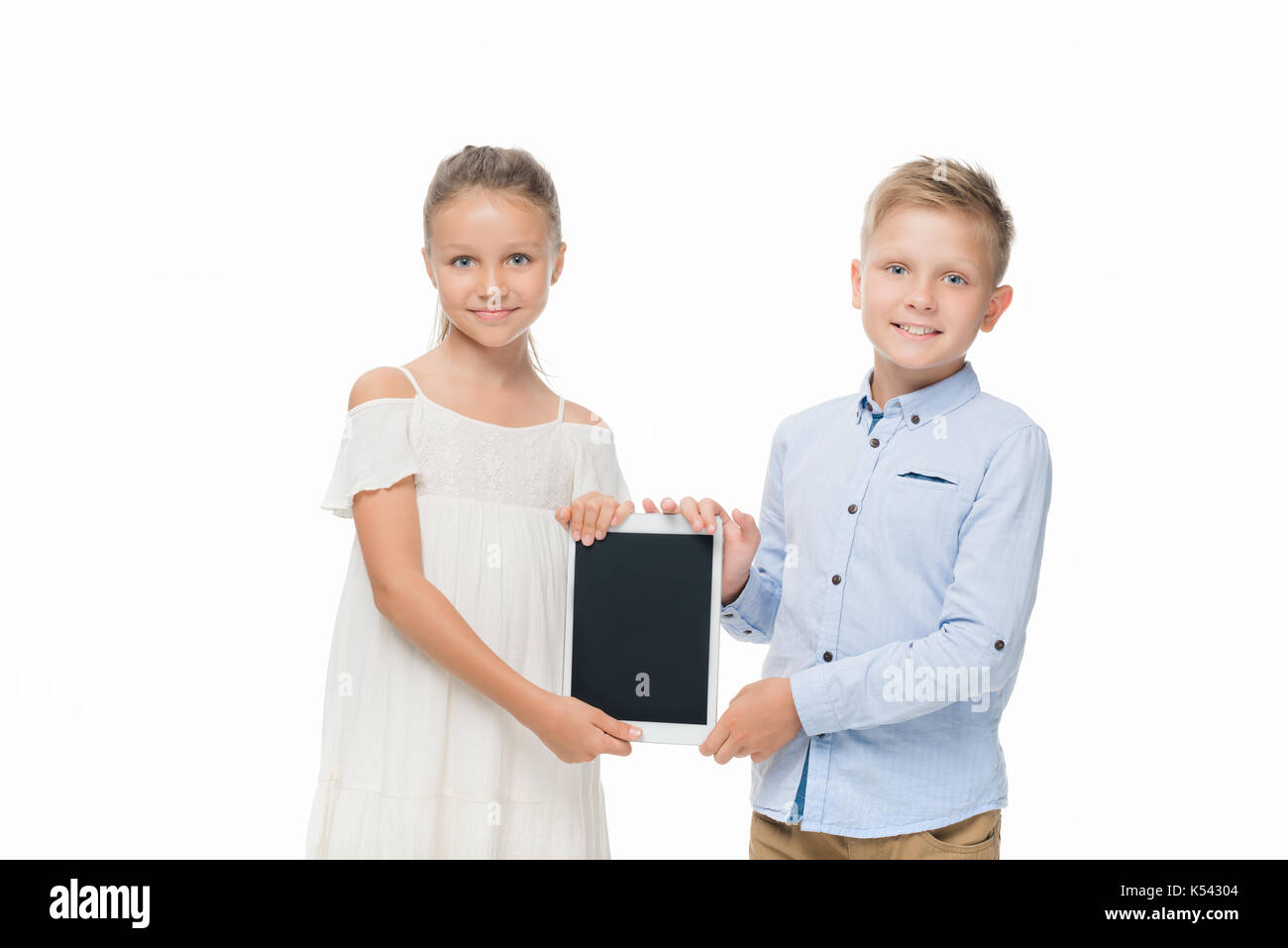 kids with digital tablet - Stock Image