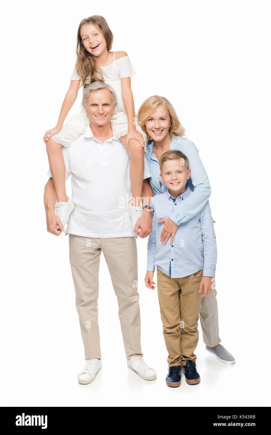 happy grandparents and kids - Stock Image