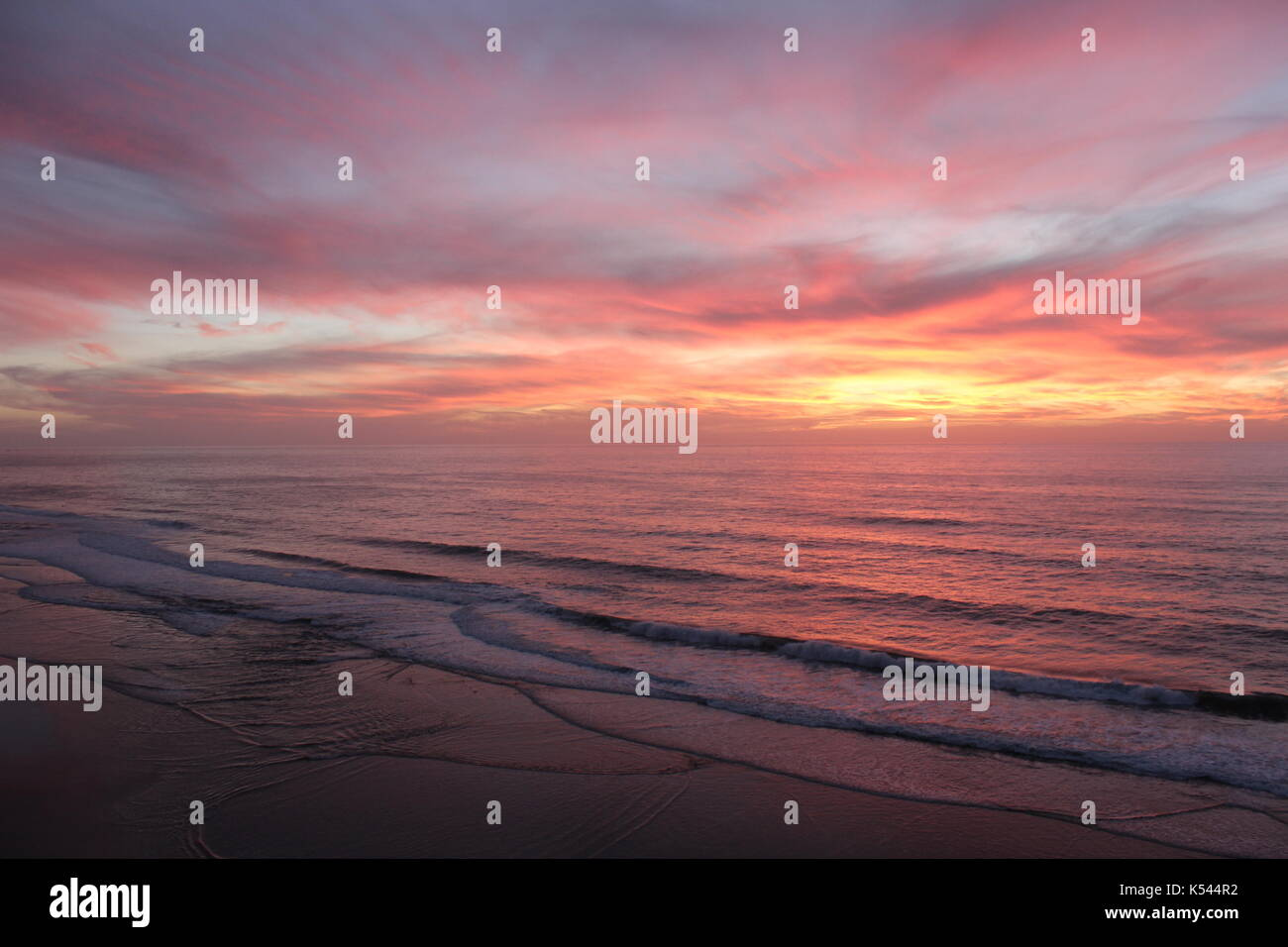 Stunning sunset on a road trip down the coast of California - Stock Image