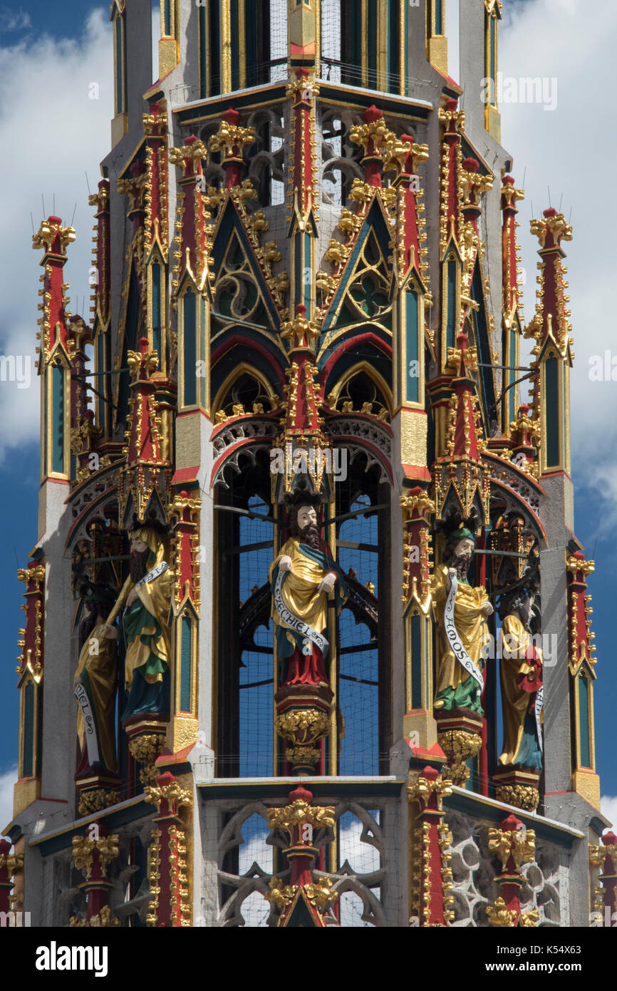 19th c. Schoner Brunnen (Beautiful Fountain)  in the Hauptmarkt or market square is a replica of a 14th century Stock Photo