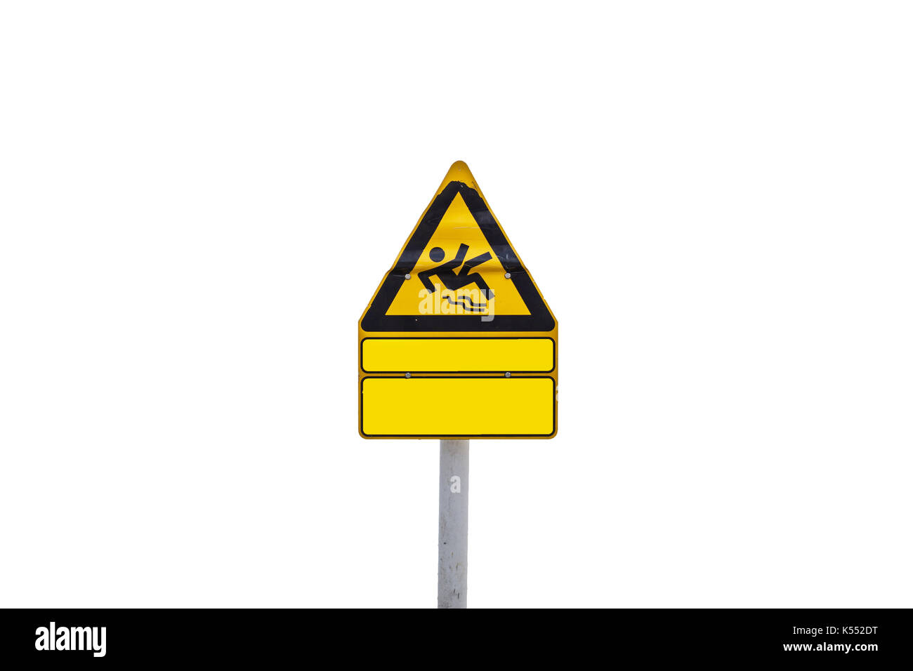 Yellow triangular Information sign, warning sign skydiver. Stock Photo