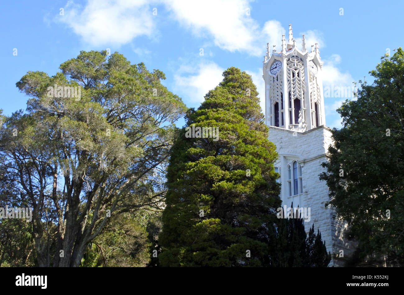 Clocktower of the Auckland University - Old Arts Building was founded in 1926. This university is the largest one in New Zealand Stock Photo