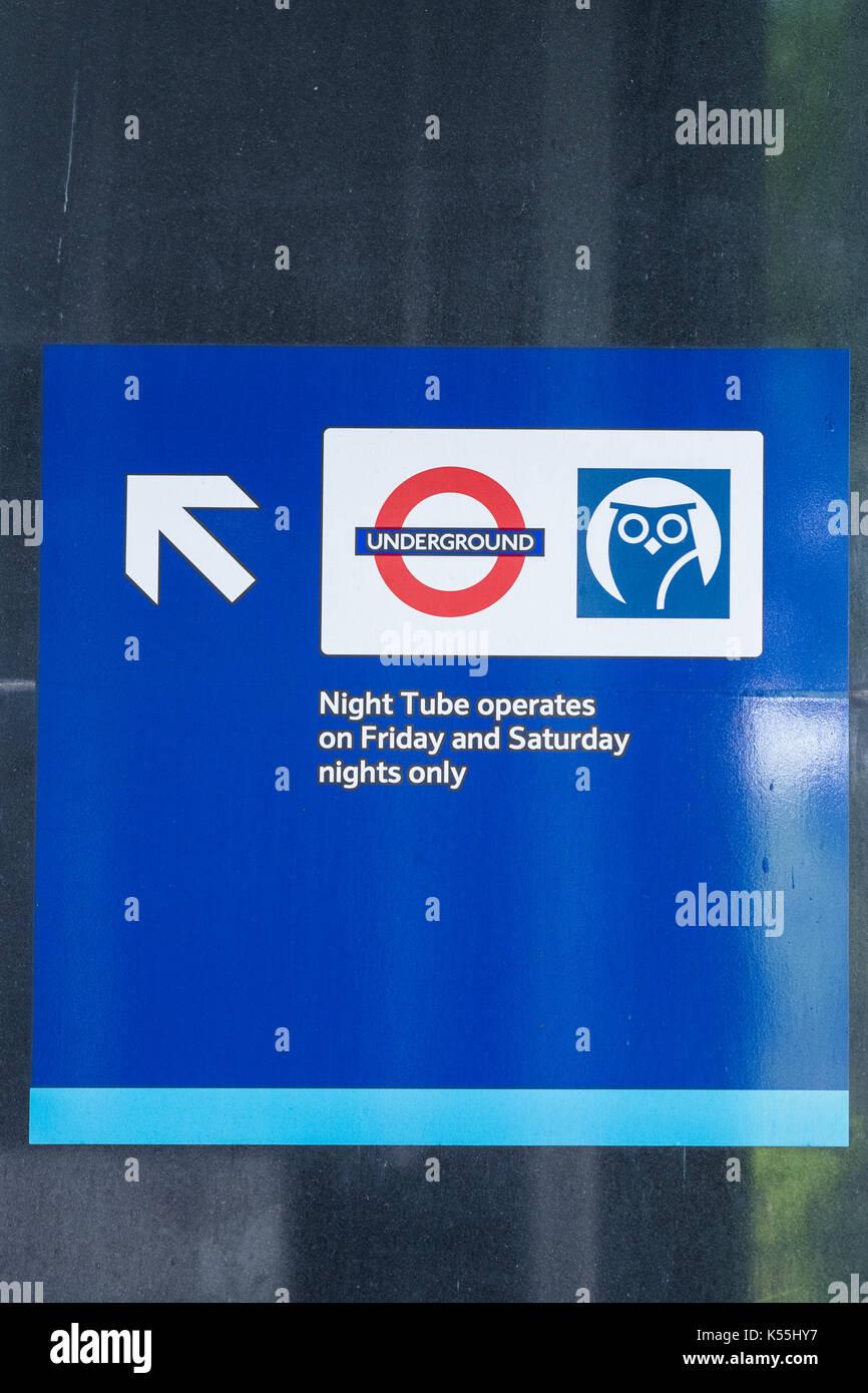 Night Tube sign at Euston Station, London, England, U.K. - Stock Image