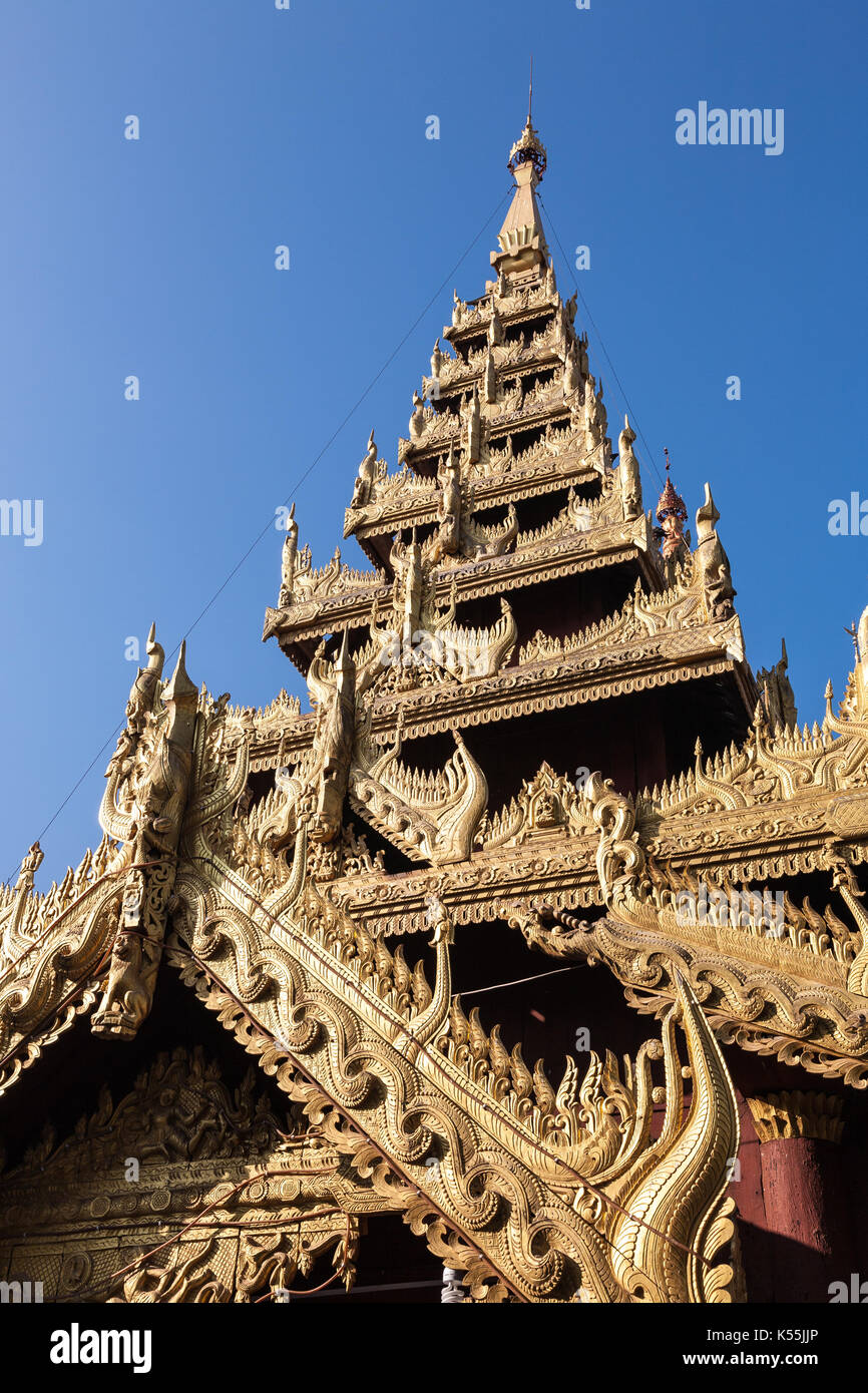 A detail of a temple tower on the religious site of the Shwezigon Pagoda in the town of Nyaung-U near Bagan in central Stock Photo