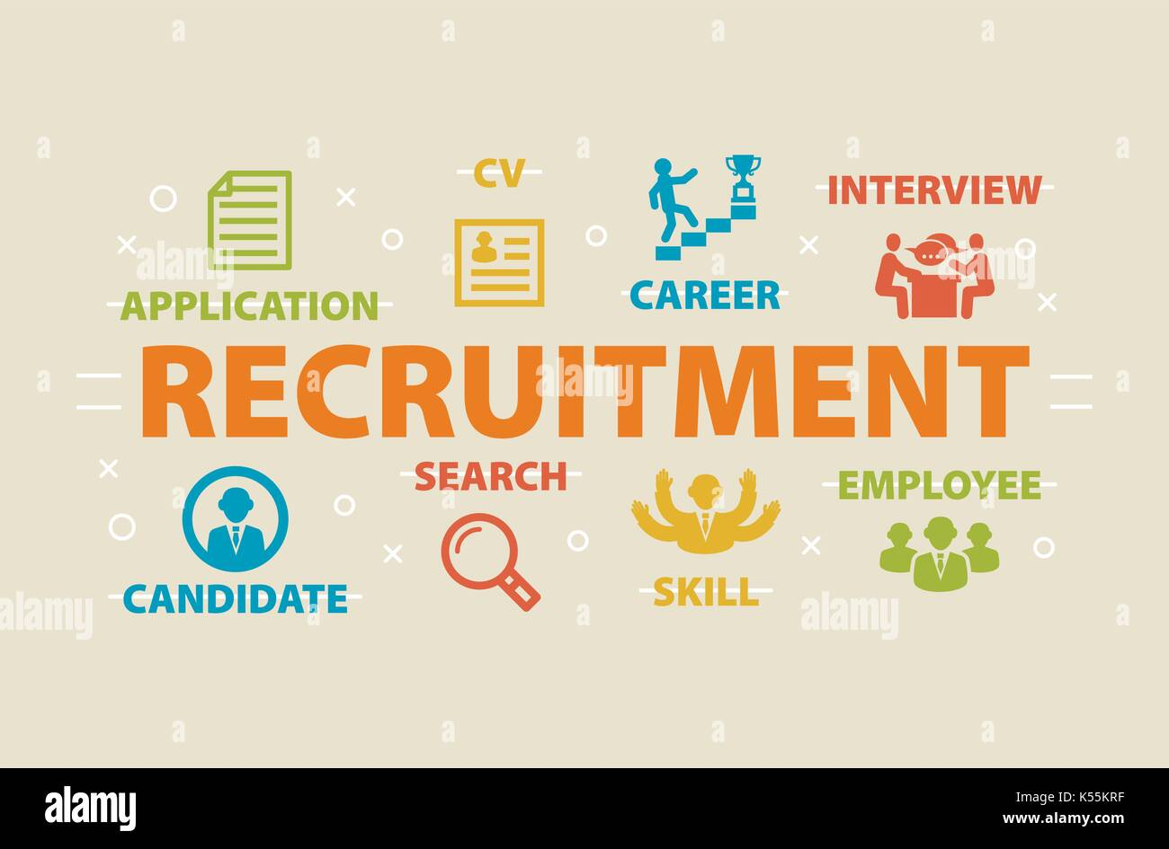 RECRUITMENT Concept with icons - Stock Vector