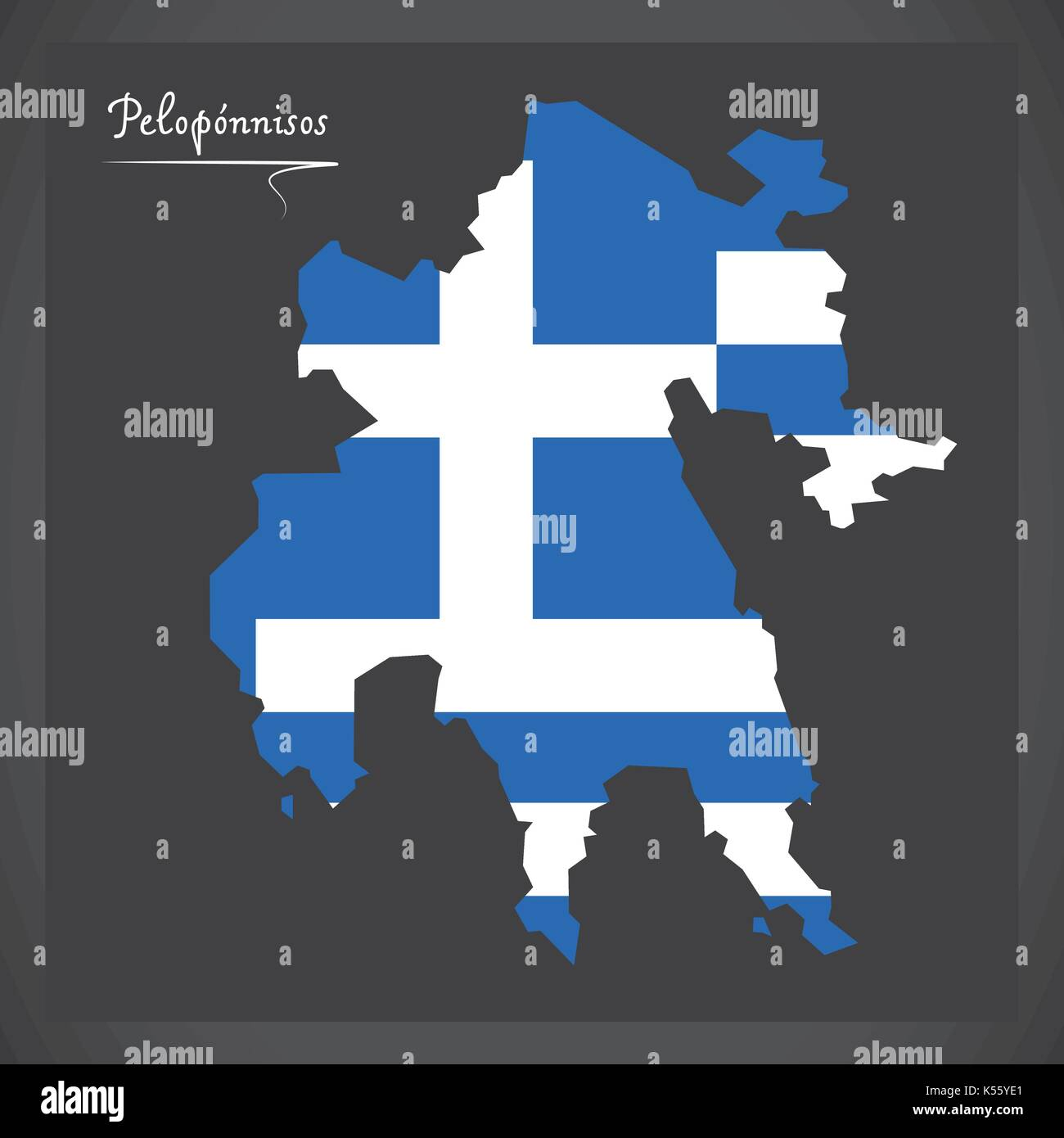 Peloponnisos map of Greece with Greek national flag illustration Stock Vector