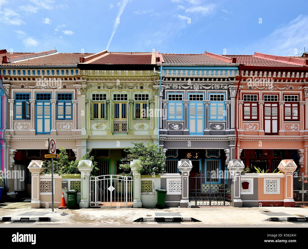 A row of four traditional Singapore Peranakan shop houses in the historic Joo Chiat area. Stock Photo