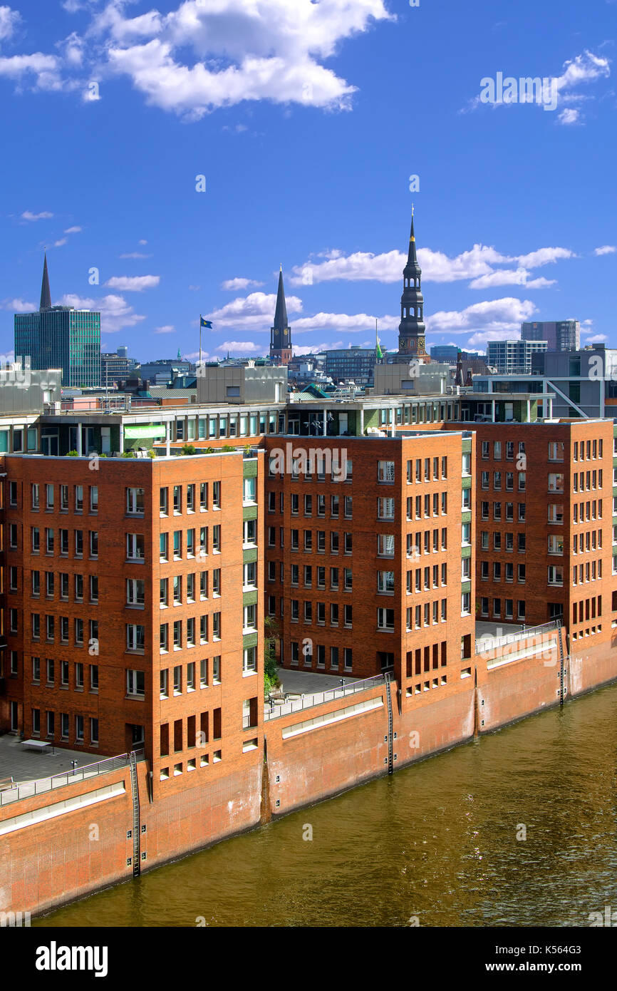 Overview of Hafen city in Hamburg - Stock Image