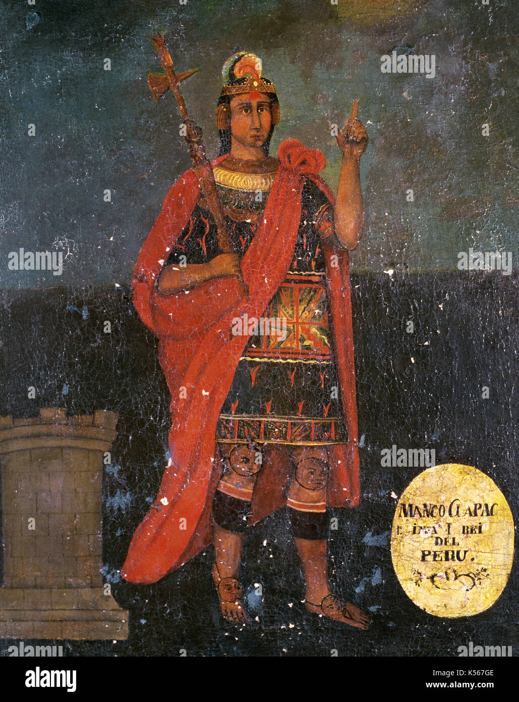 Manco Capac (13th century). First governor and founder of the Inca civilization. Anonymous painting. - Stock Image