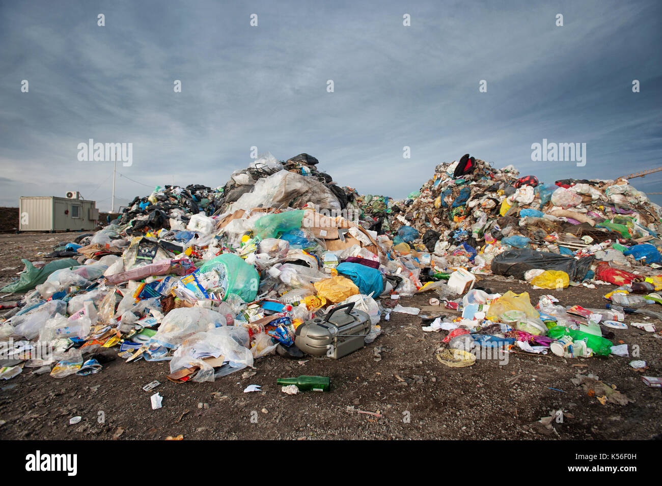 Pile of waste at city landfill. Waste management, ecology concept - Stock Image