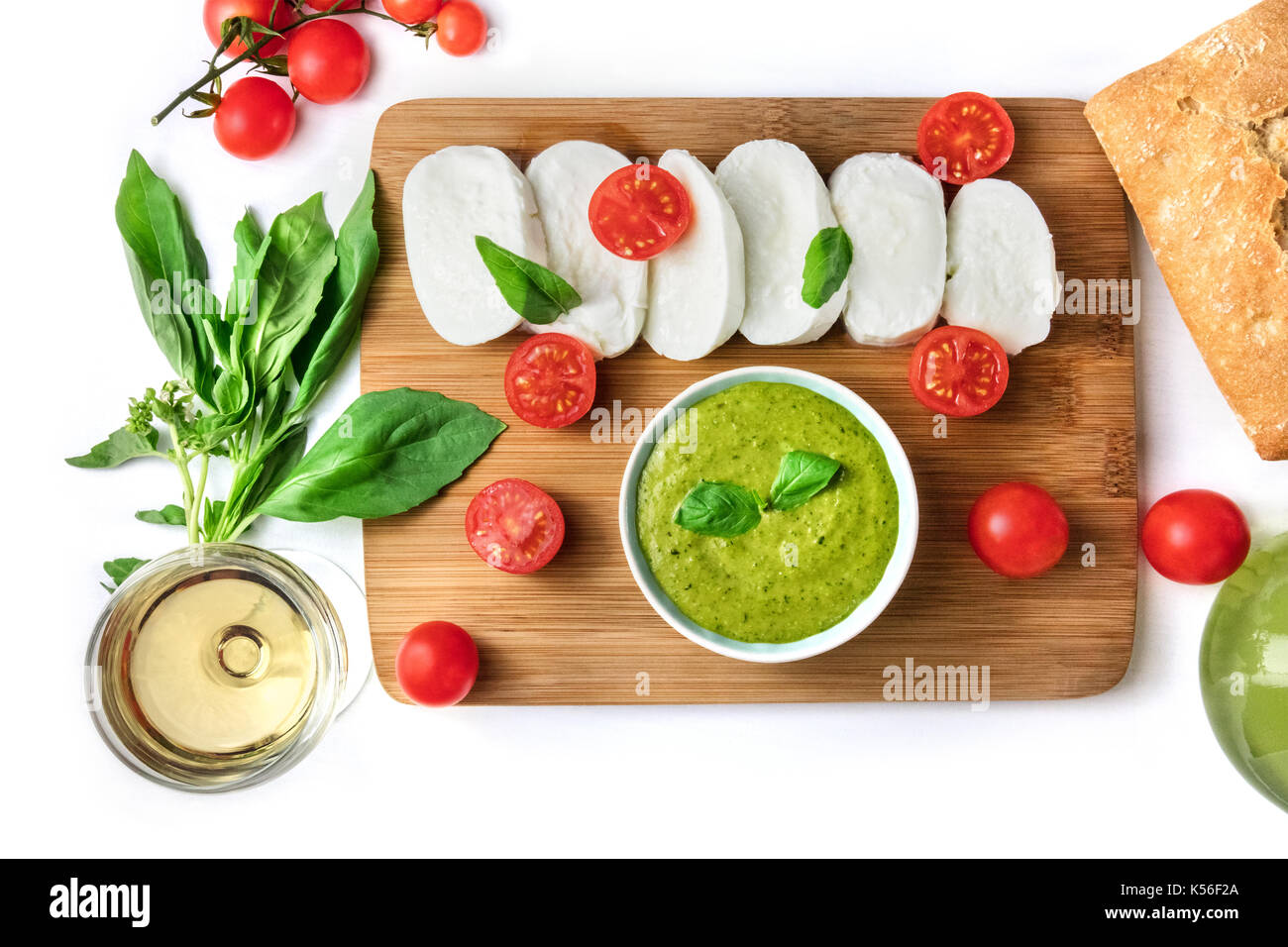 Overhead photo of Italian food products on white - Stock Image