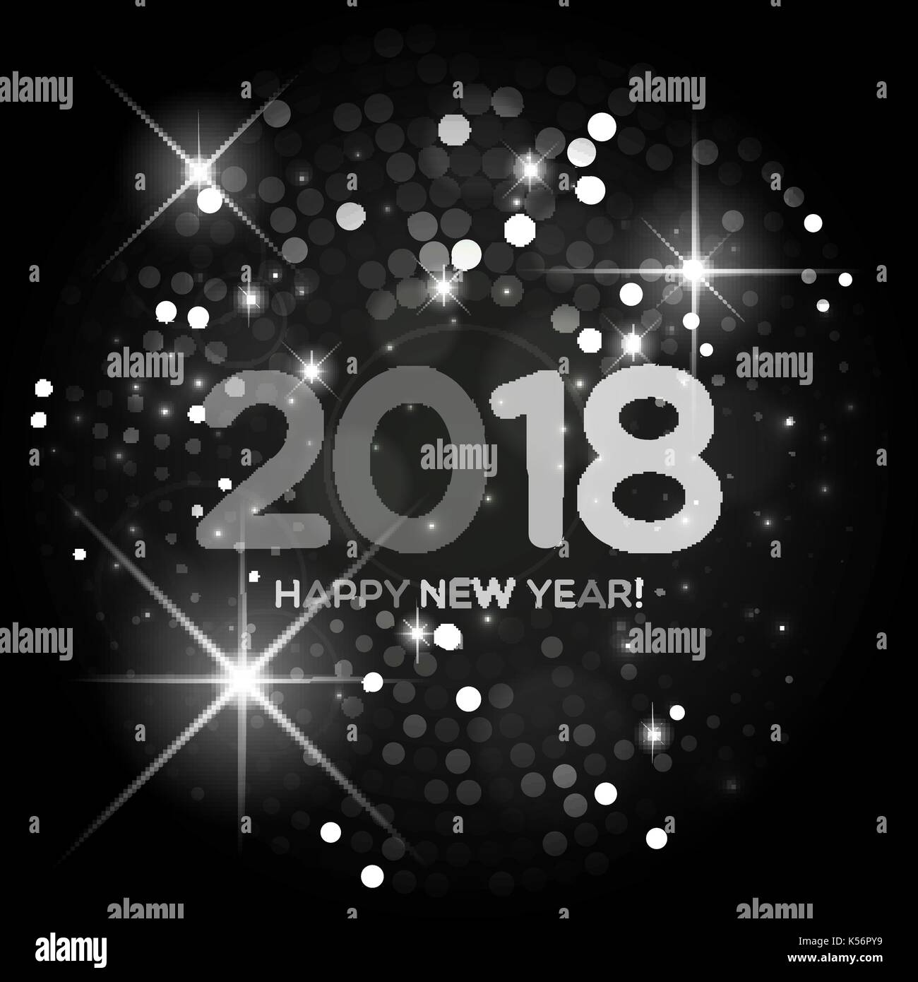 happy new year 2018 abstract black and white light background for your design