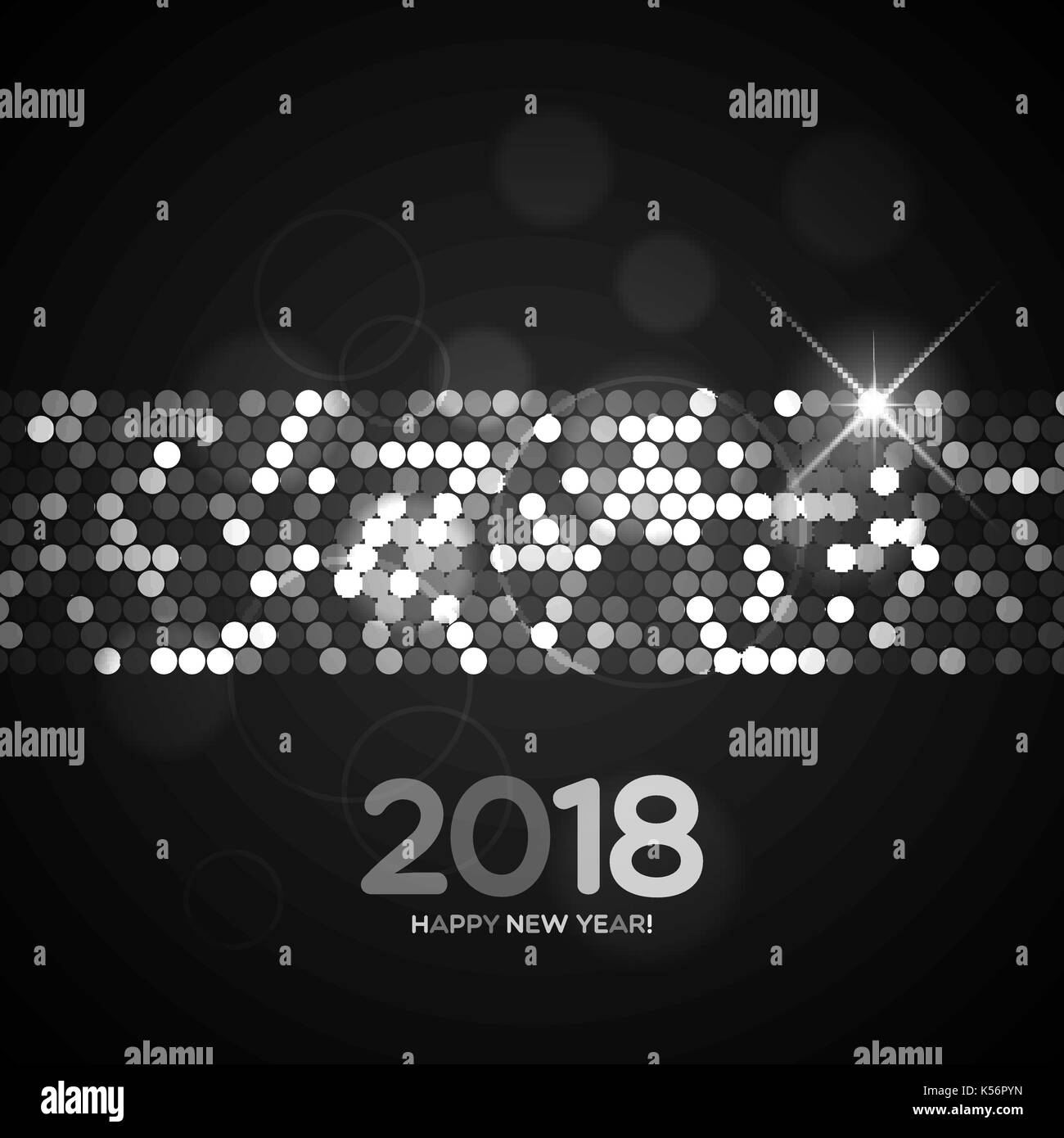 happy new year 2018 black and white shimmer background made of abstract spangles for your greeting card design