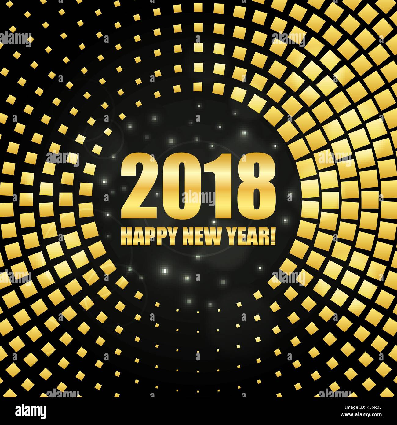 happy new year 2018 golden shimmer background made of abstract spangles for your greeting card design