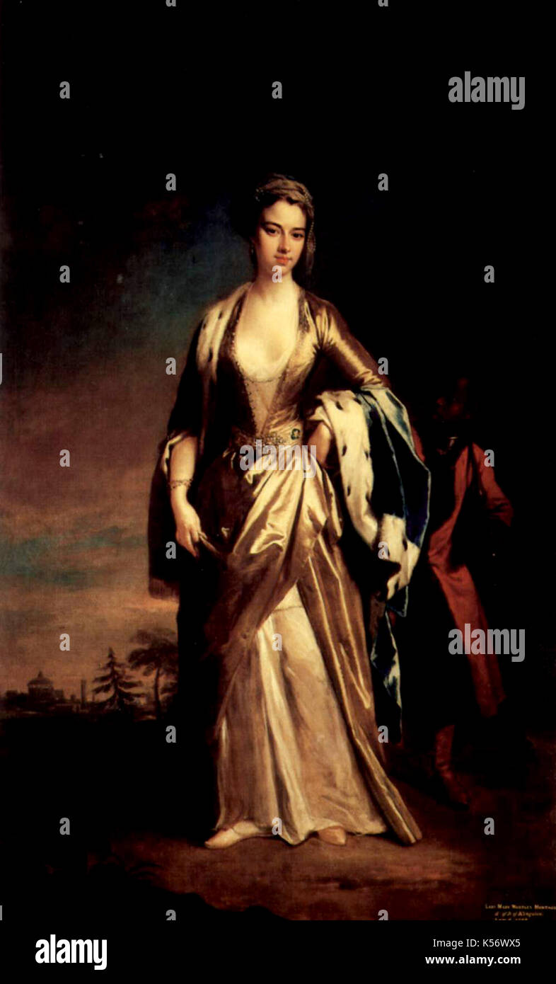 A painting of Mary Wortley Montagu by Jonathan Richardson the Younger 18c - Stock Image