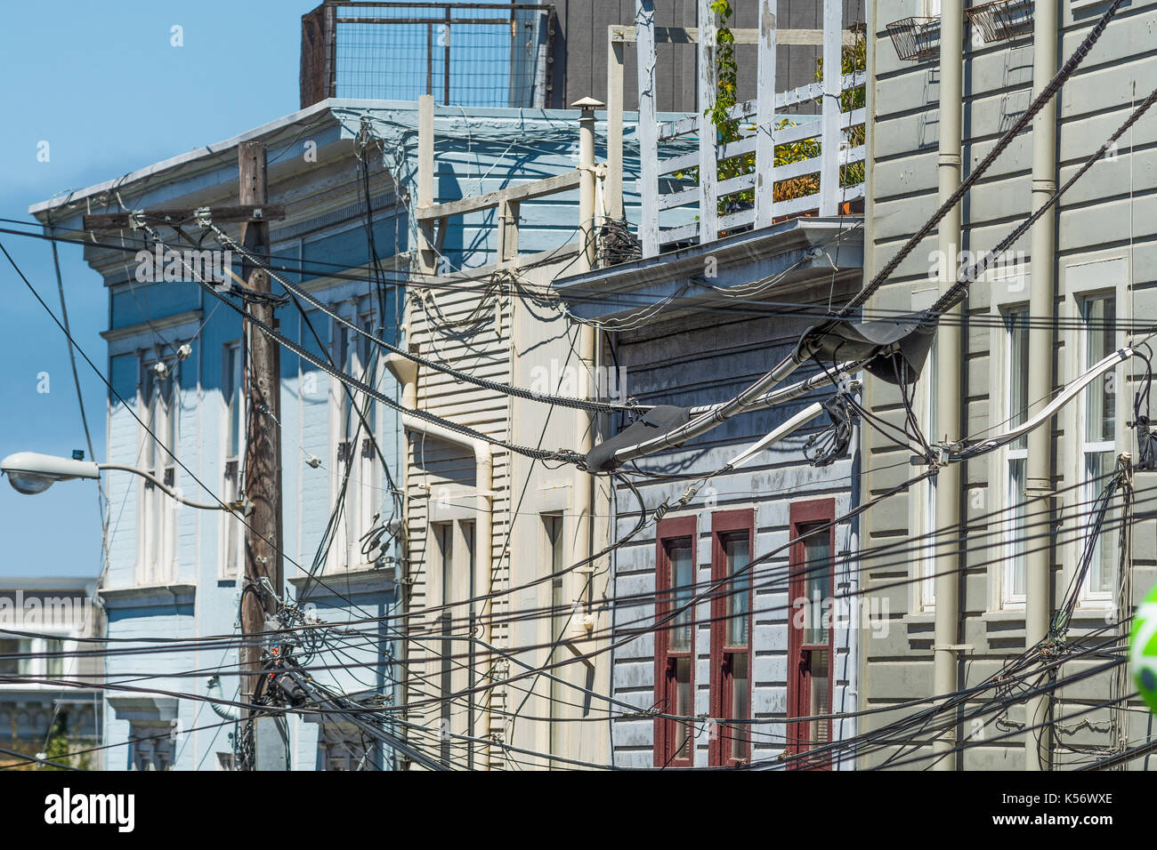 old facades with cables in San Francisco - Stock Image
