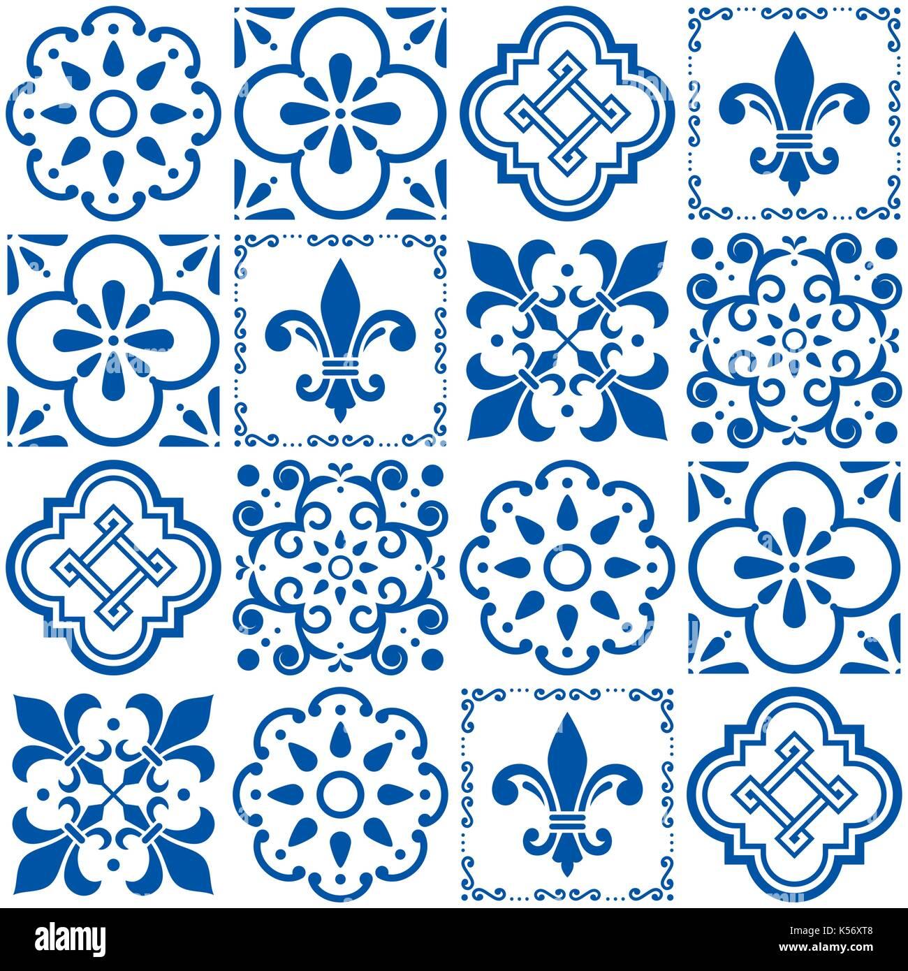 Portuguese vector tiles pattern, Lisbon seamless indigo blue tile design, Azulejos vintage geometric ceramics   Floral and abstract shapes texture - Stock Vector