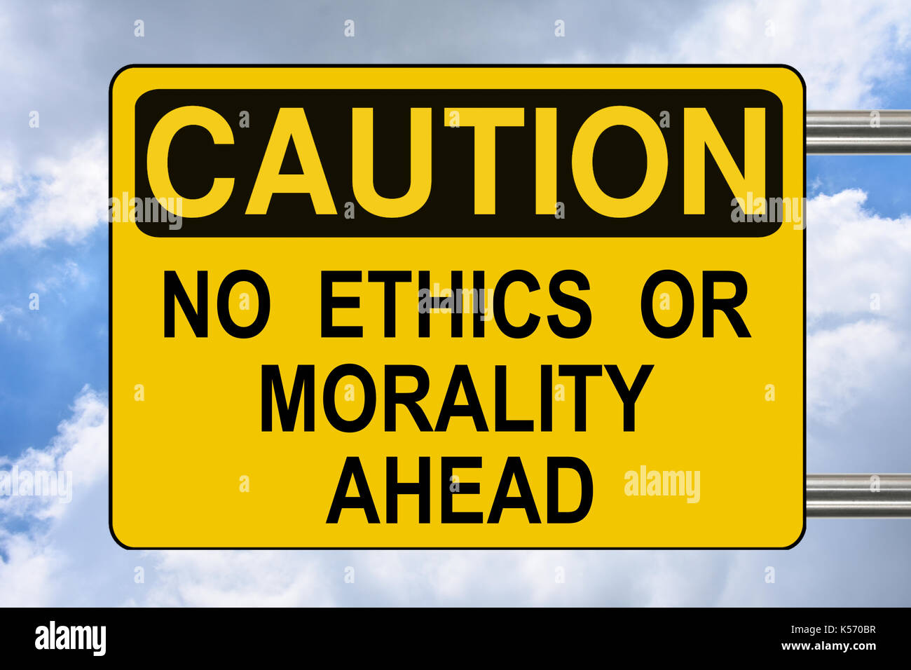 No ethics or morality ahead, yellow caution road sign Stock Photo