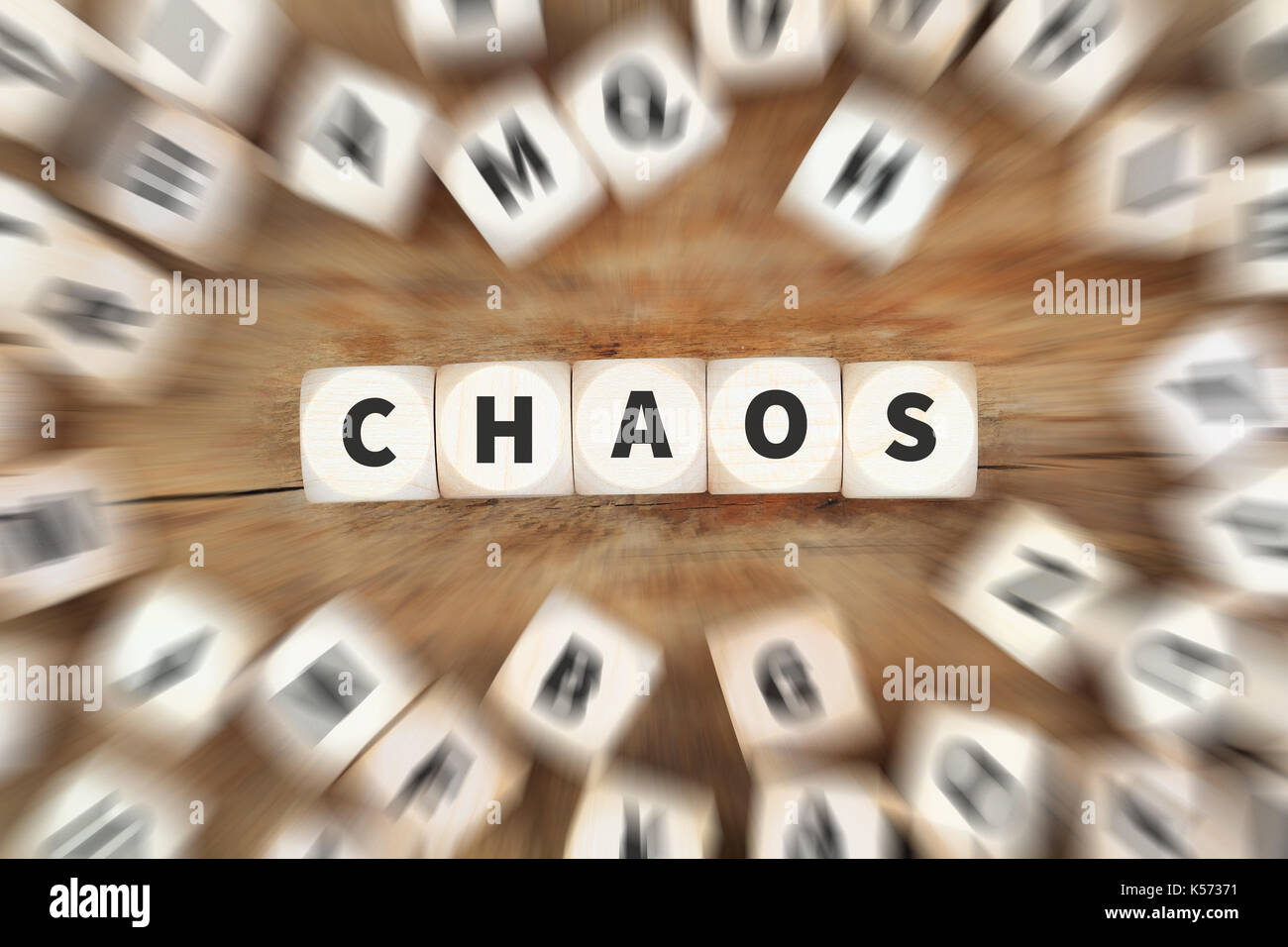 Chaos disorder order office dice business concept idea - Stock Image