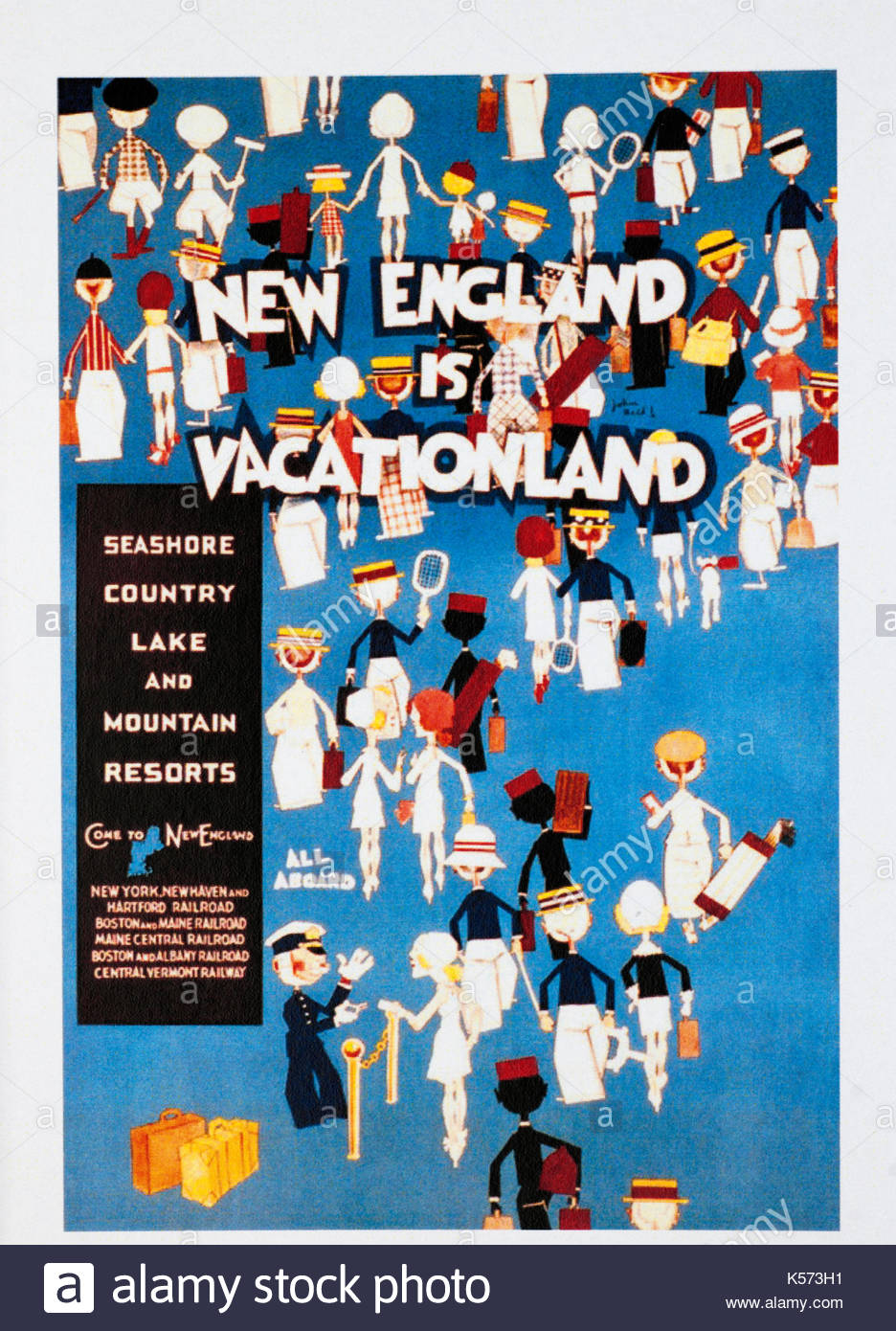 Vintage travel poster advertising New England - Stock Image