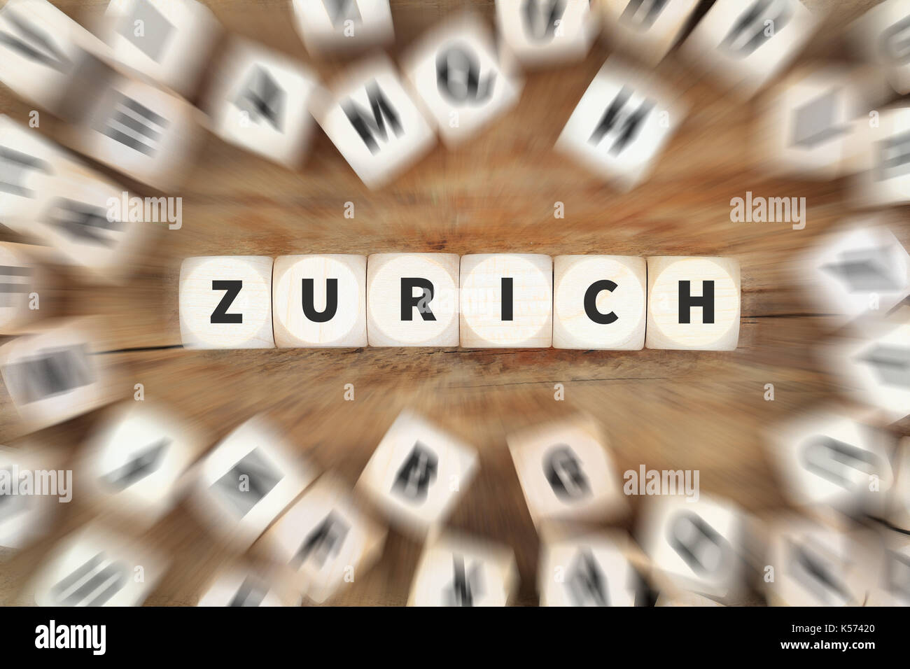 Zurich town city travel traveling dice business concept idea - Stock Image