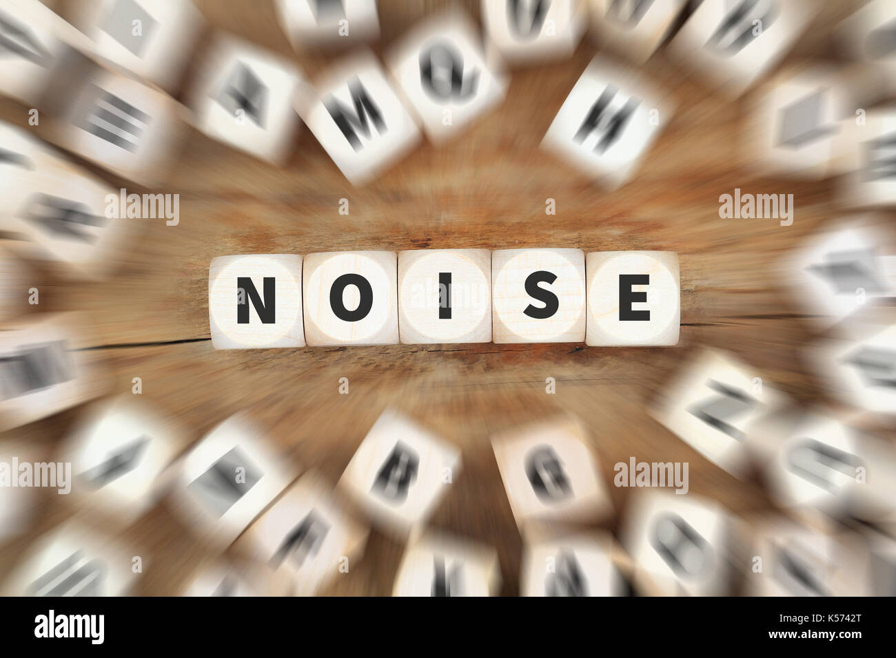 Noise pollution loud protection volume dice business concept idea - Stock Image