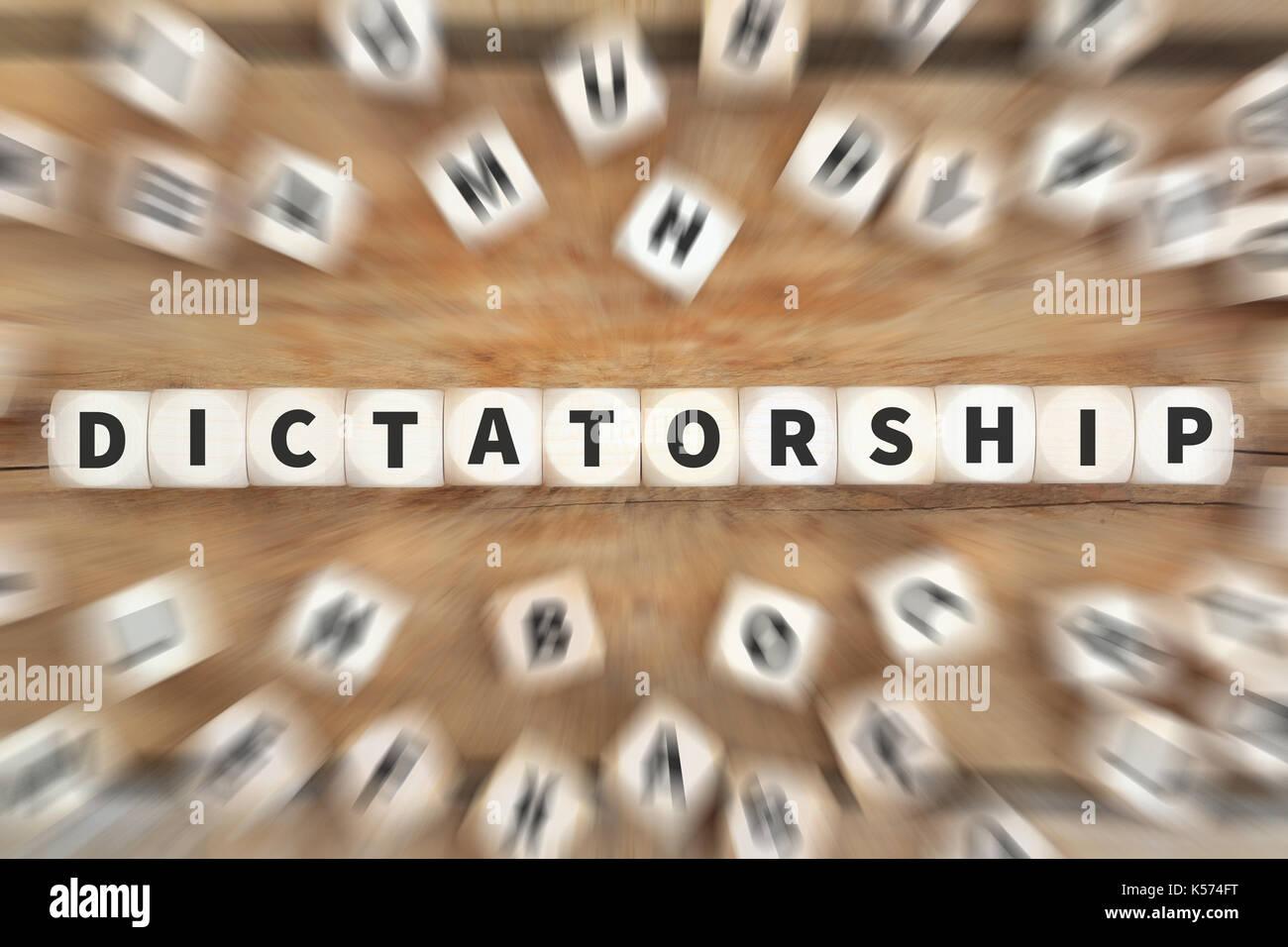 Dictatorship dictator communism socialism politics economy dice business concept idea - Stock Image