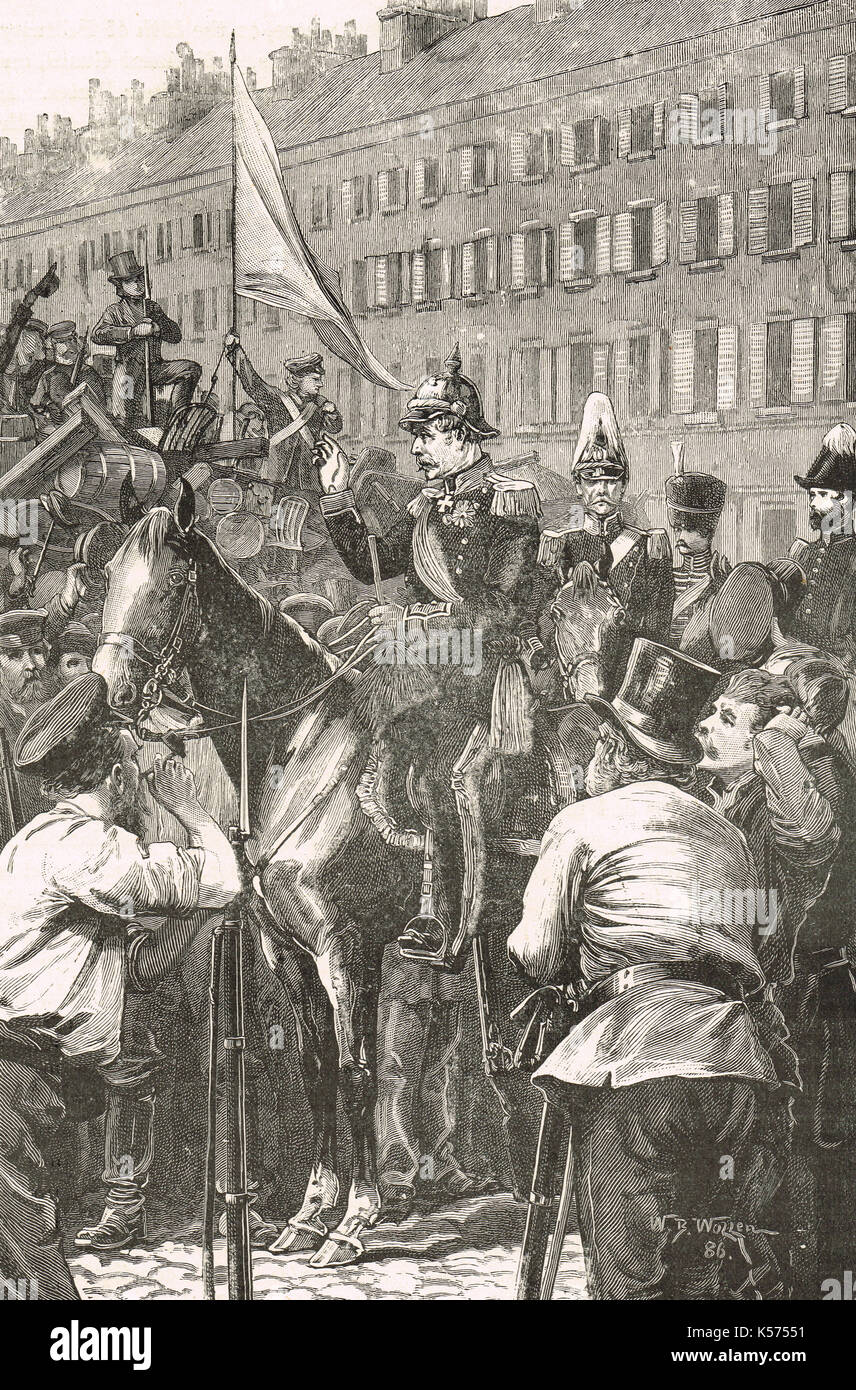 The King of Prussia Addressing the Berliners, March revolution of 1848 - Stock Image