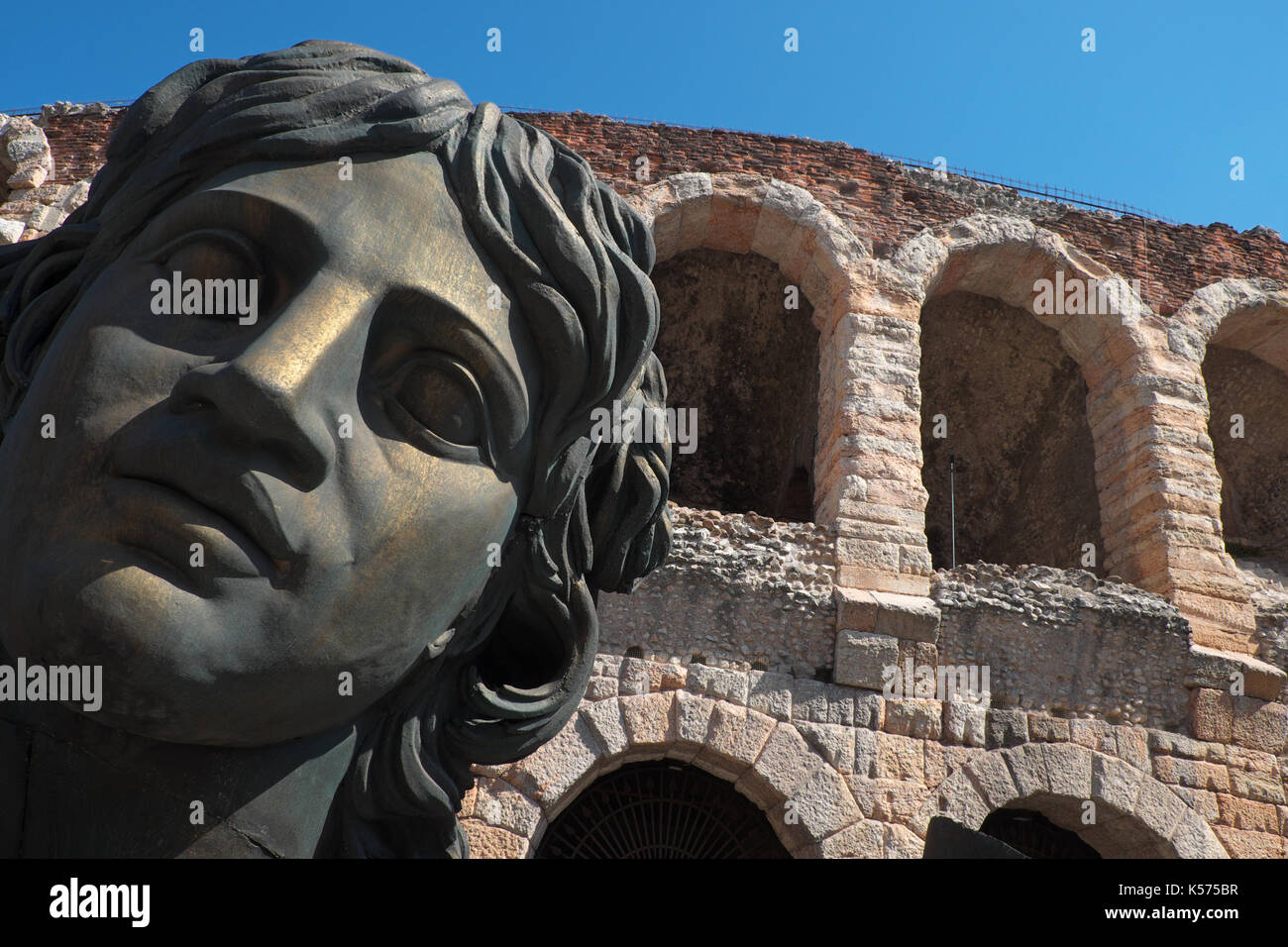 Verona Italy the Roman Arena with opera stage props outside - Stock Image
