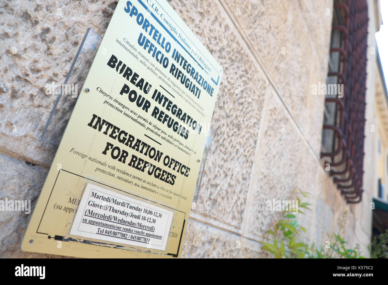 Italy Integration Office for Refugees and migrants in Verona Italy - Stock Image