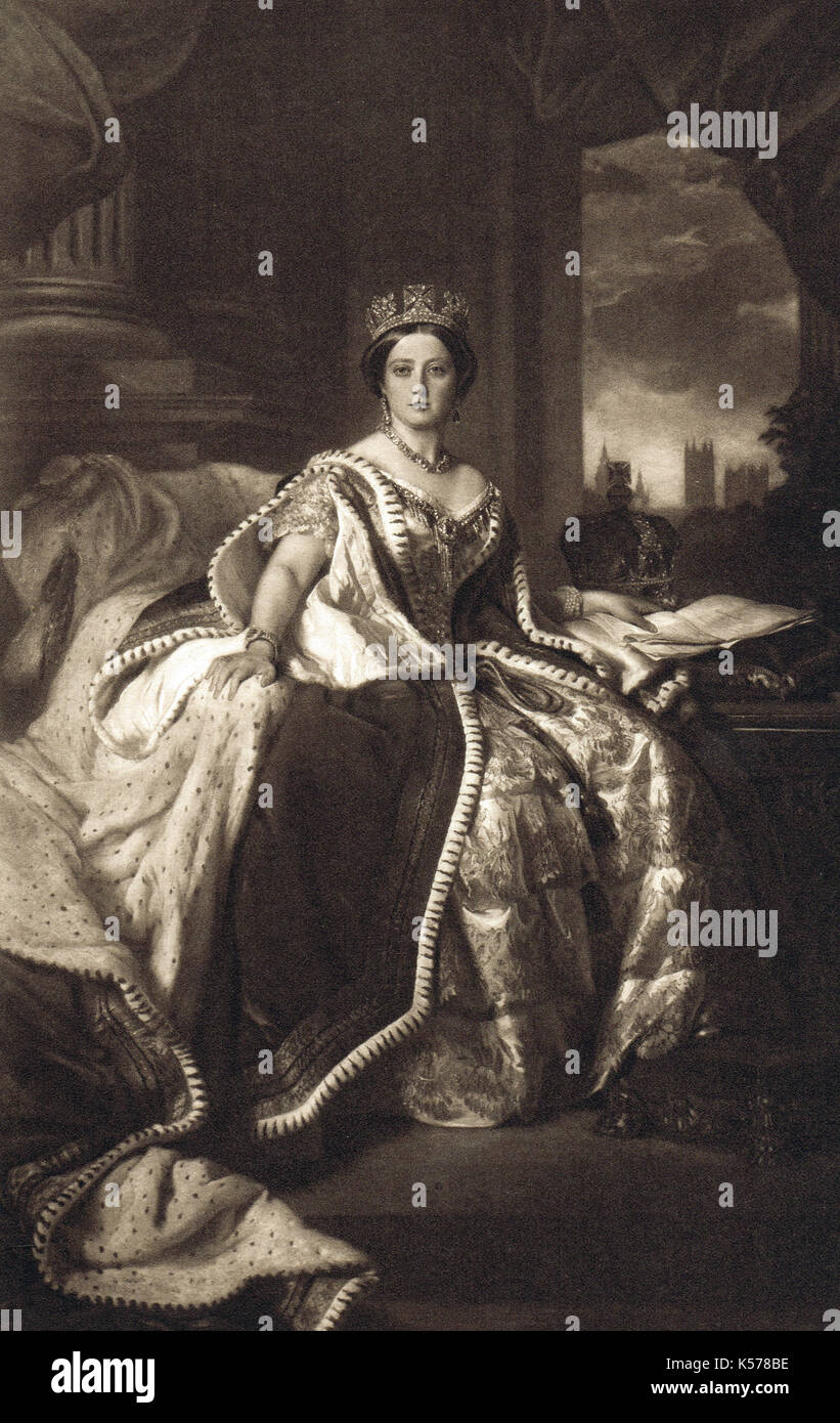 Queen Victoria in state robes, 1845 - Stock Image
