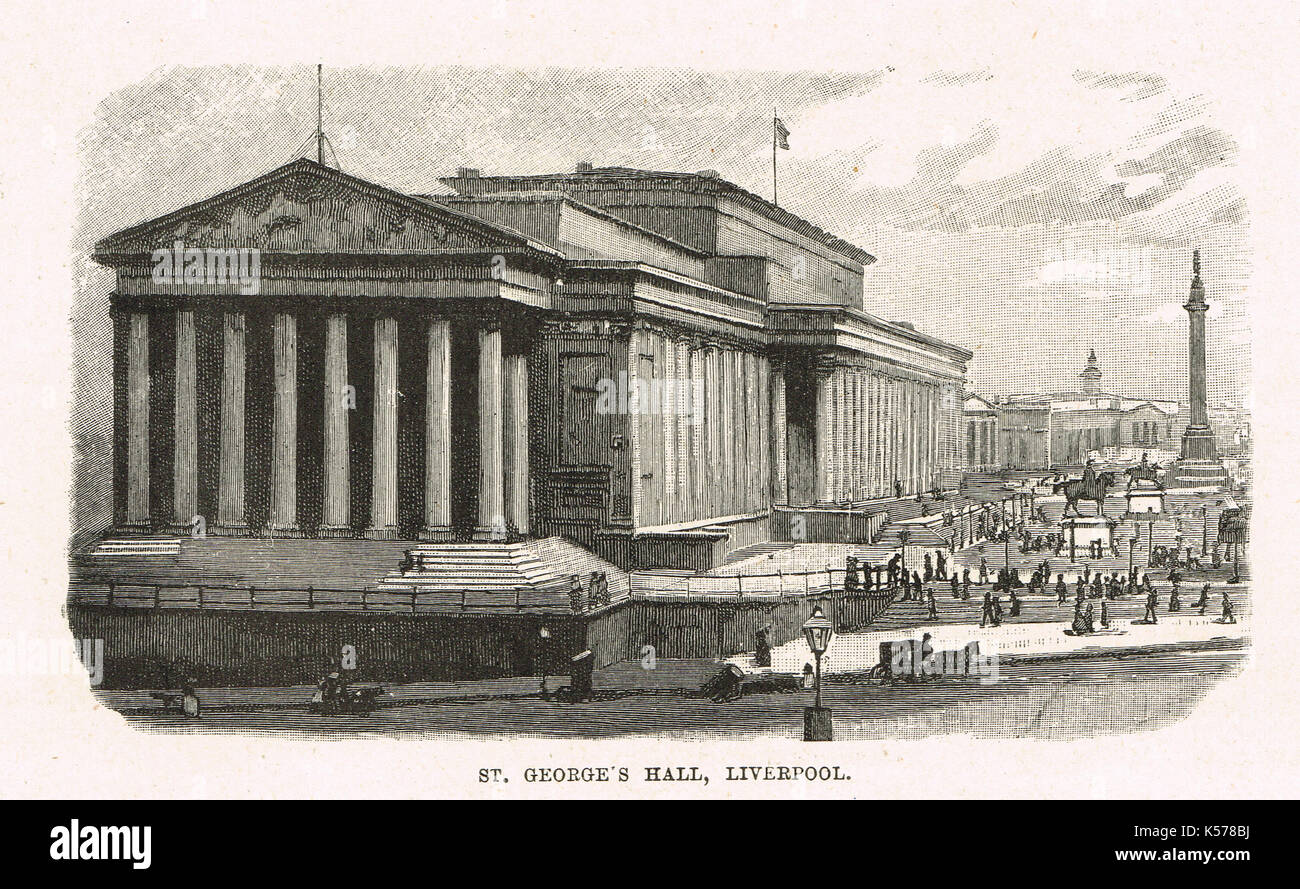 St George's Hall, Liverpool, Circa 1854 - Stock Image