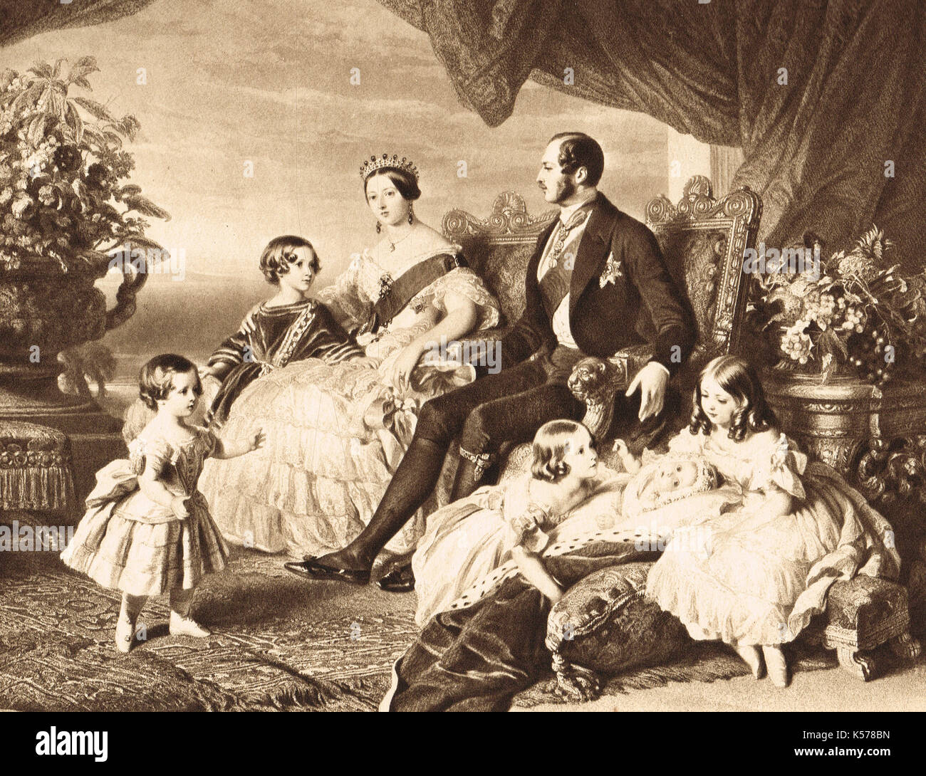 Queen Victoria, Prince Albert  and family group, 1848 - Stock Image