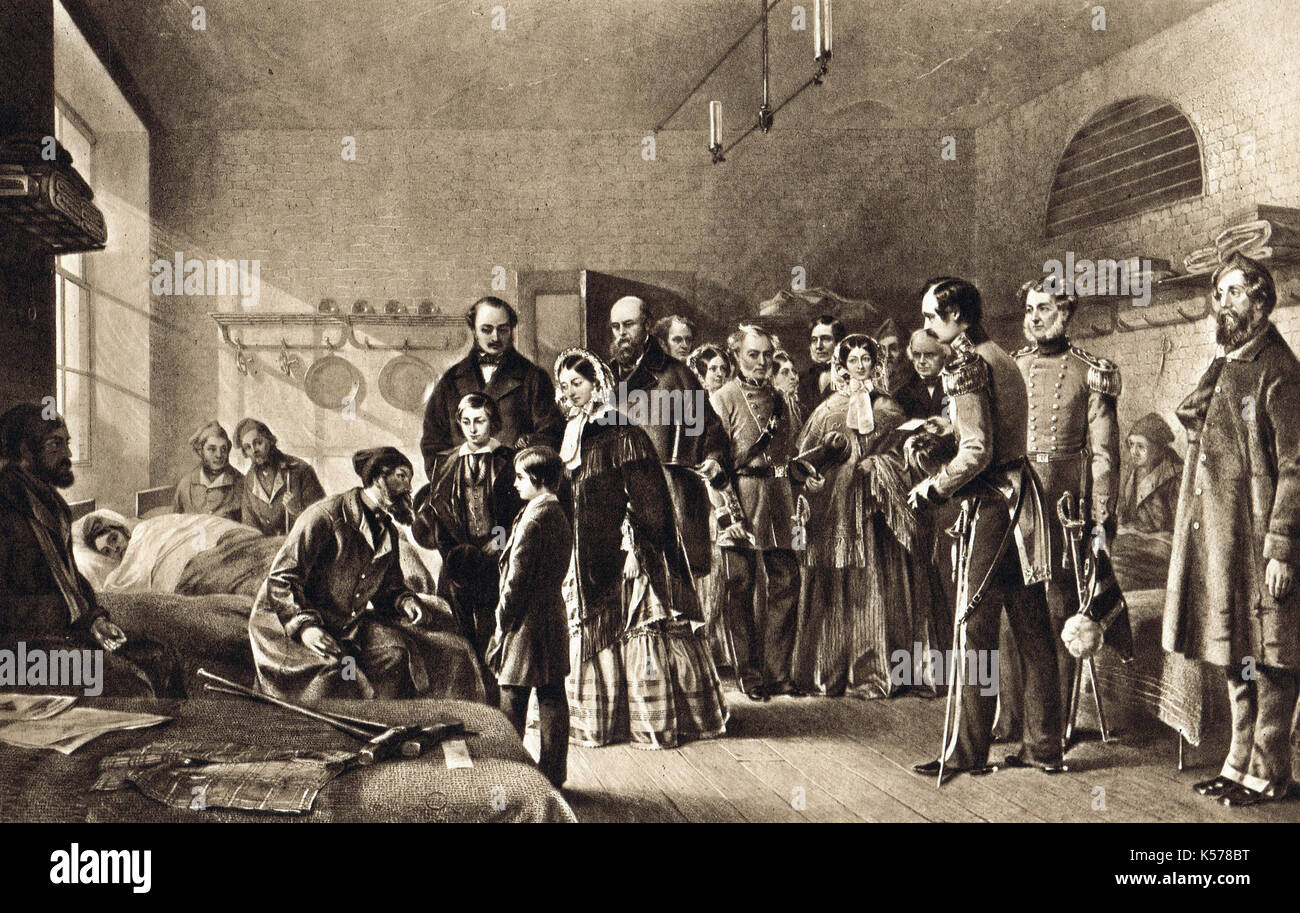 Queen Victoria's First Visit to her Wounded Soldiers of The Crimean War, 3 March 1855, Chatham military hospital - Stock Image