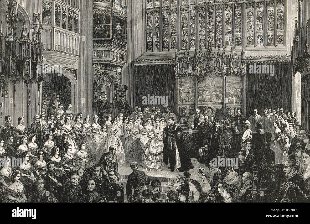 Marriage of the Prince of Wales (Future Edward VII) to Alexandra of Denmark, 10 March 1863. - Stock Image