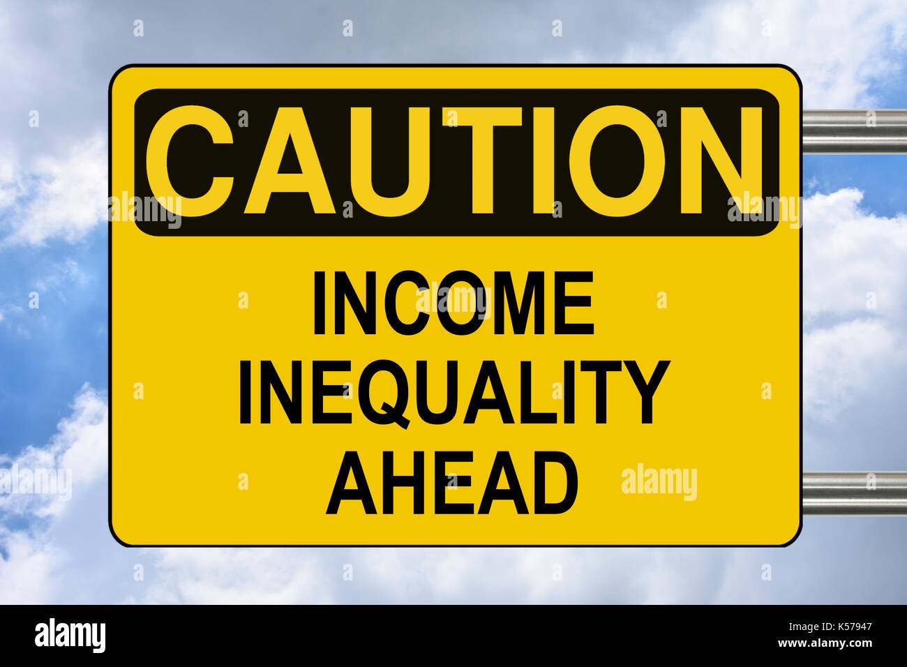 Income inequality Ahead, yellow warning road sign. - Stock Image