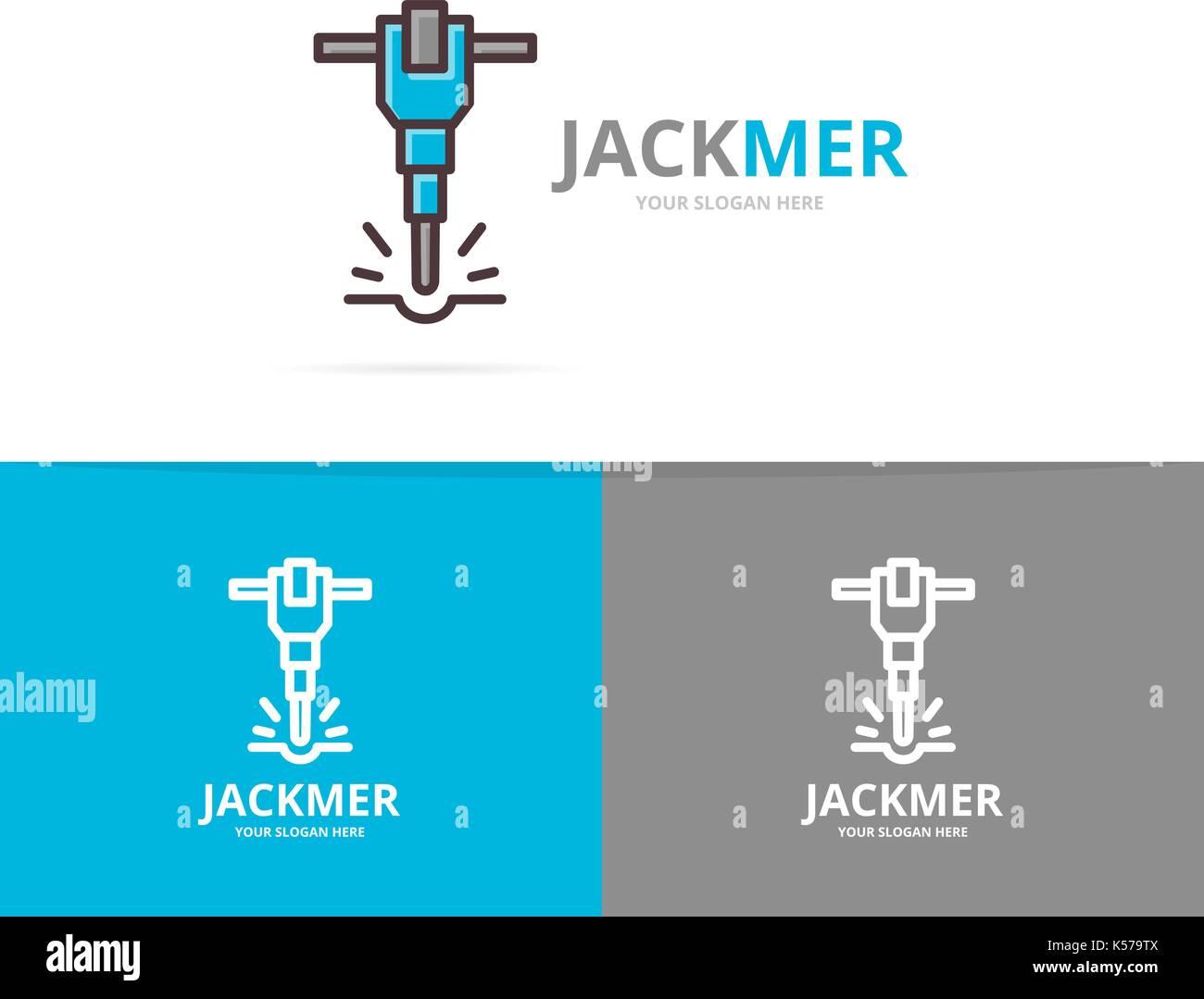 Vector of jackhammer and construction logo design template. - Stock Vector