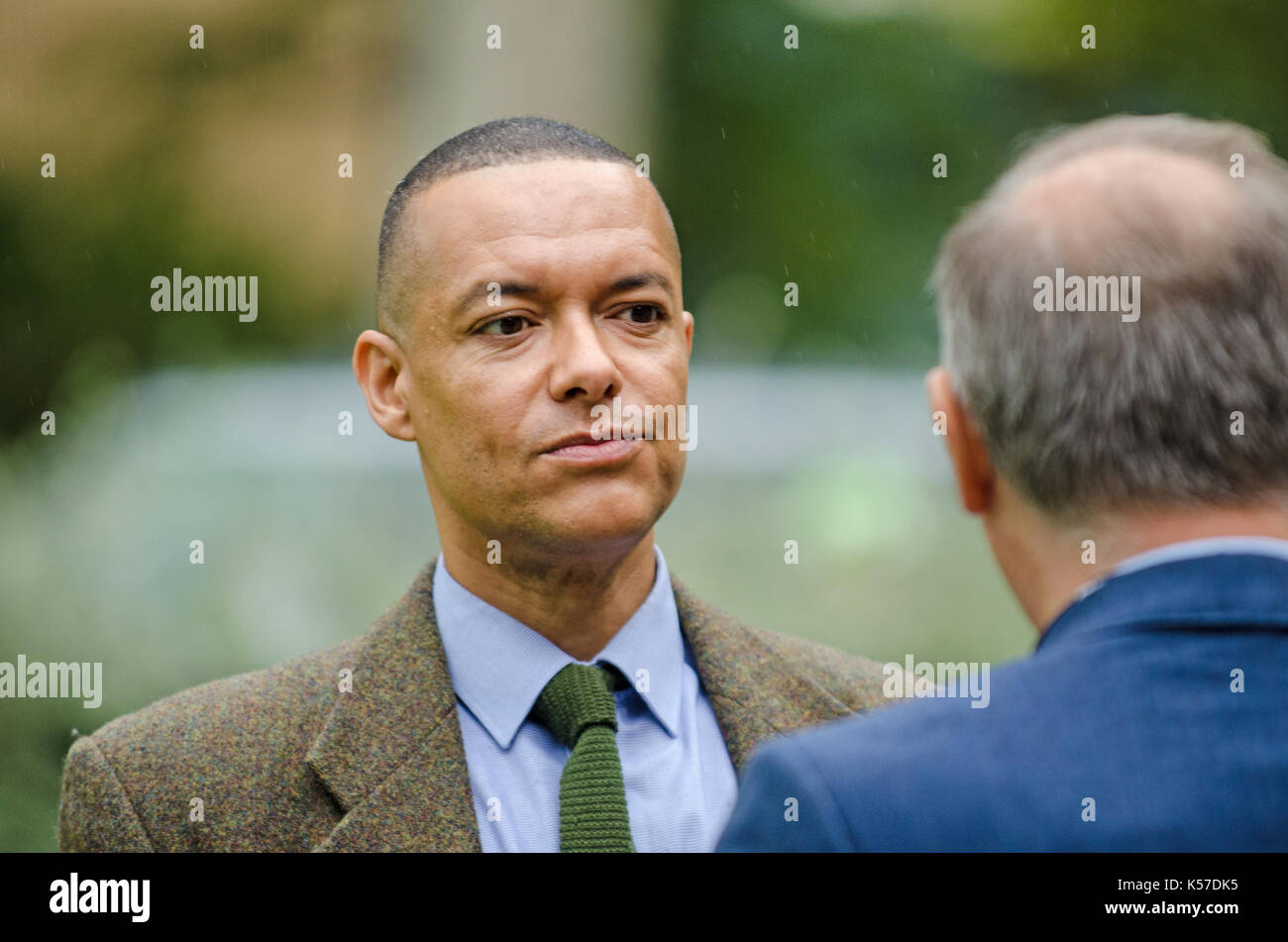 Clive Lewis MP (Labour: Norwich South) interviewed on College Green, Westminster, as Parliament debates the EU Withdrawal Stock Photo