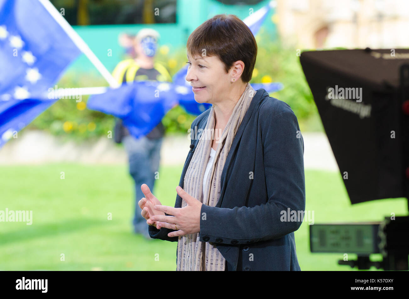 Caroline Lucas MP (Green: Brighton Pavilion and Co-Leader) interviewed on College Green, Westminster, as Parliament debates the EU Withdrawal Bill (Se - Stock Image