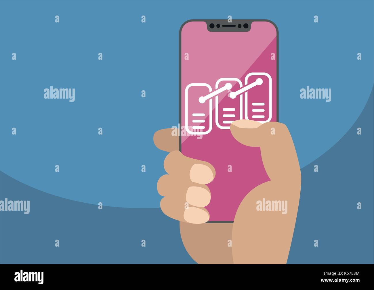 Blockchain or data model concept on frameless touchscreen as vector illustration. Hand holding bezel free smartphone with icon ordered records - Stock Vector
