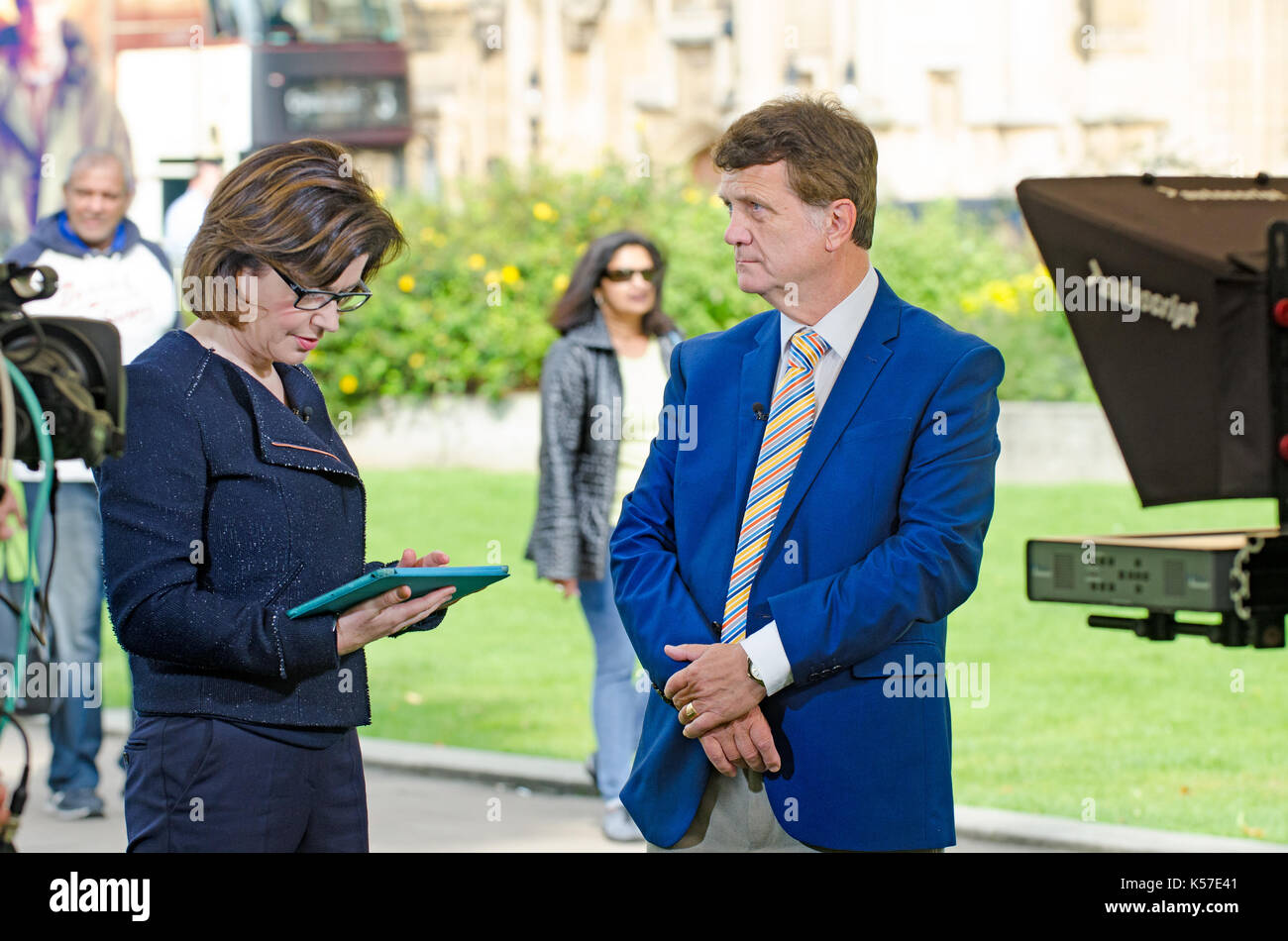 Gerard Batten MEP (UKIP: London) UKIP Brexit spokesman, interviewed by BBC's Jane Hill on College Green, Westminster, Stock Photo
