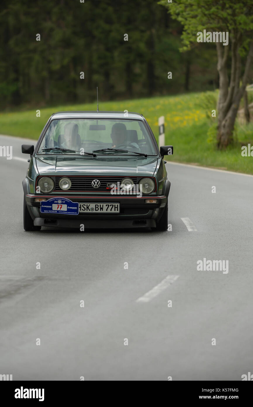 Brilon, Germany - May 13th in 2017: Oldtimer Sauerland round trip VW Golf GTI - Stock Image
