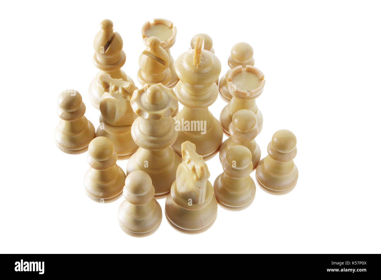 Chess Pieces on White Background - Stock Image