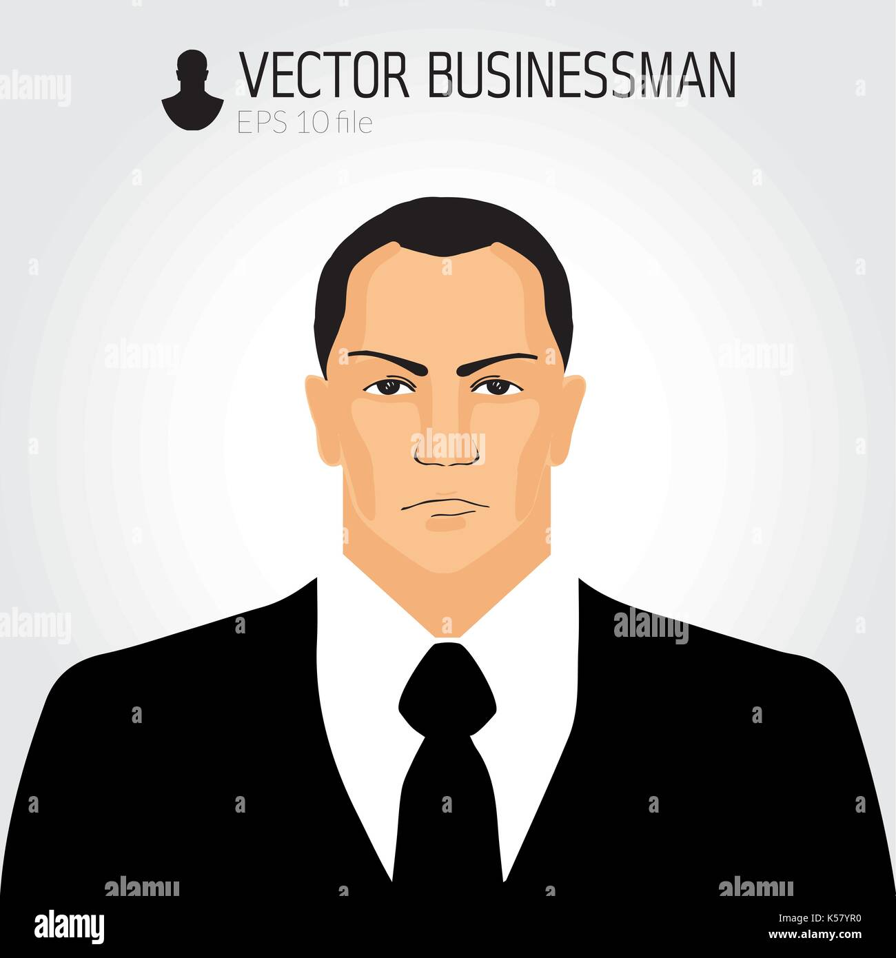 Angry businessmand avatar, businessman icon, business portrait, character - Stock Image